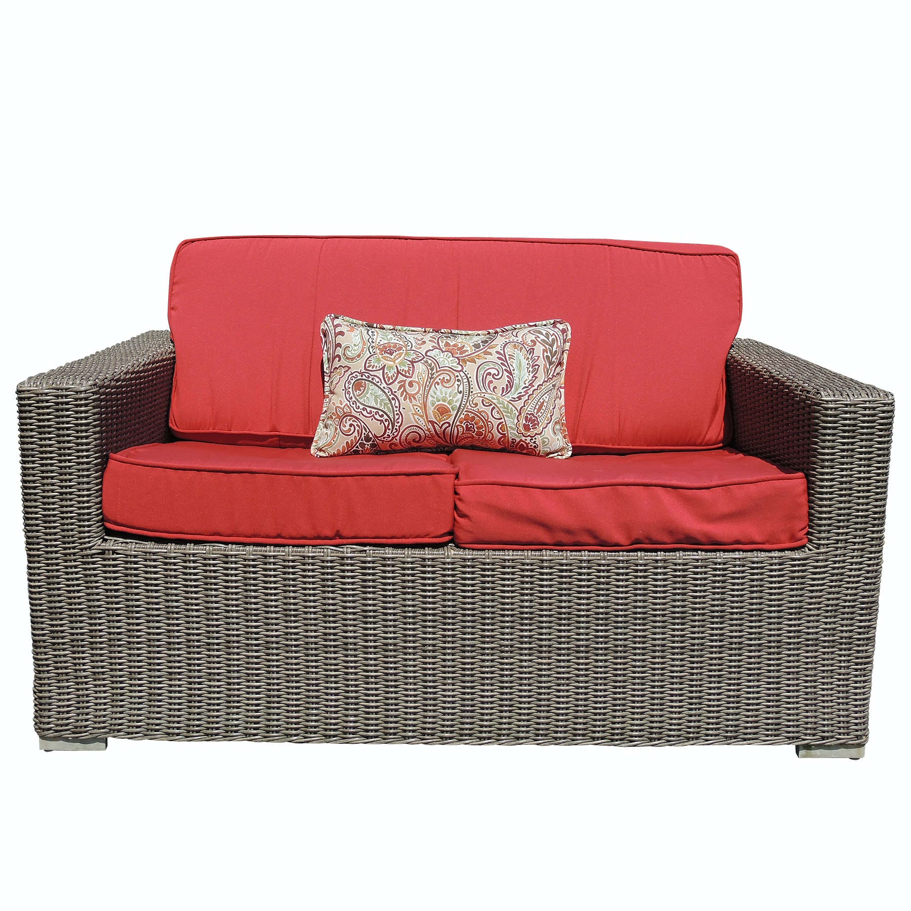 Wicker Patio Love Seat with Red Cushions