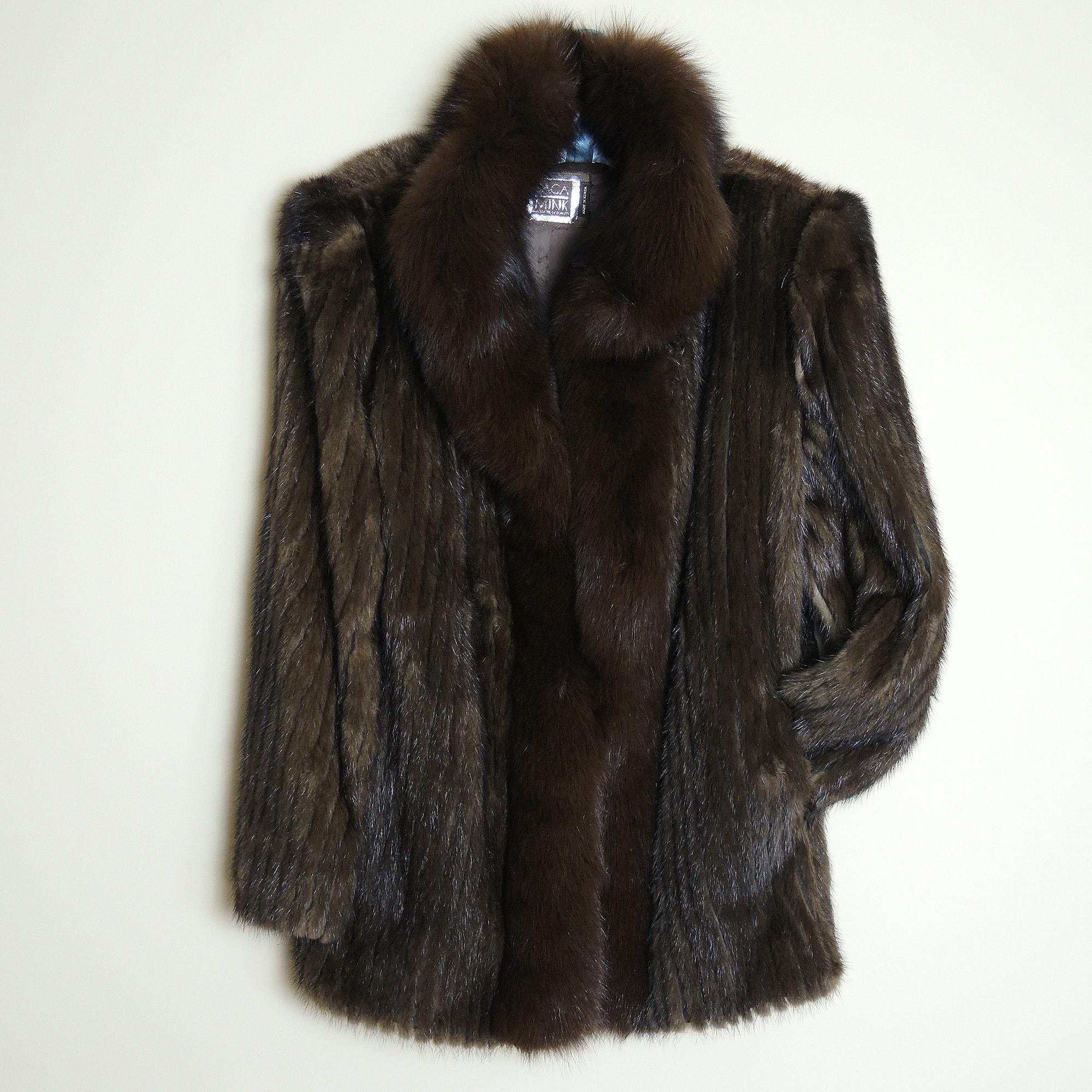 Saga Mink Fur Jacket with Fox Fur Collar