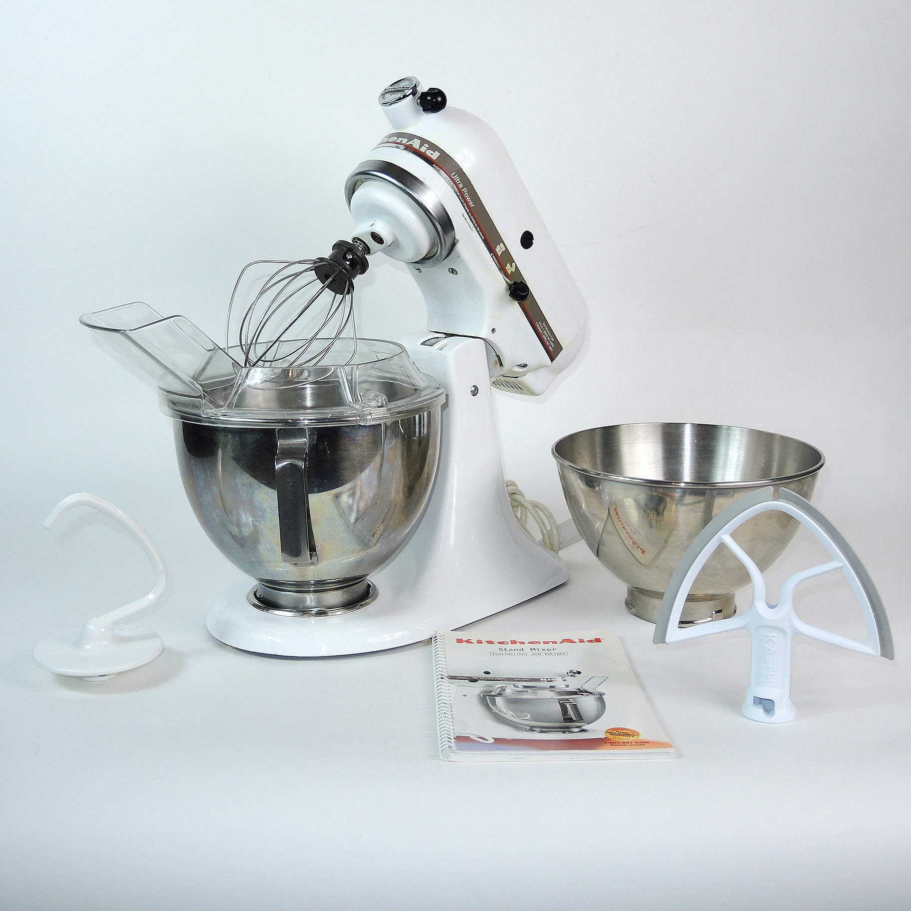 White Kitchen Aid Mixer with Accessories
