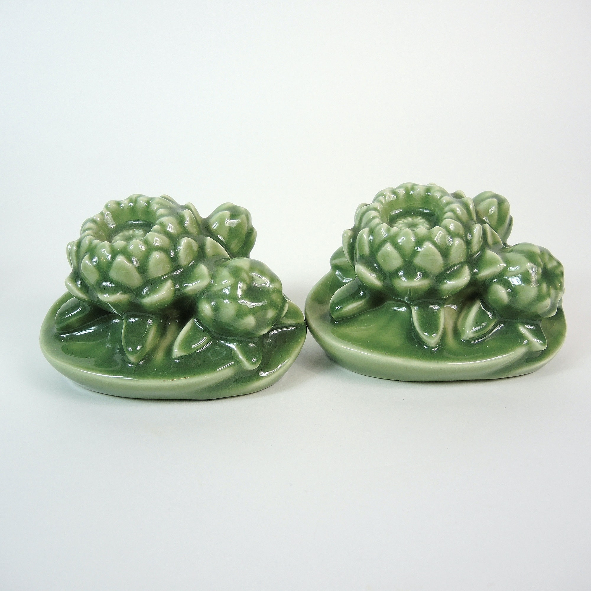 Rookwood Pottery Green Floral Bookends