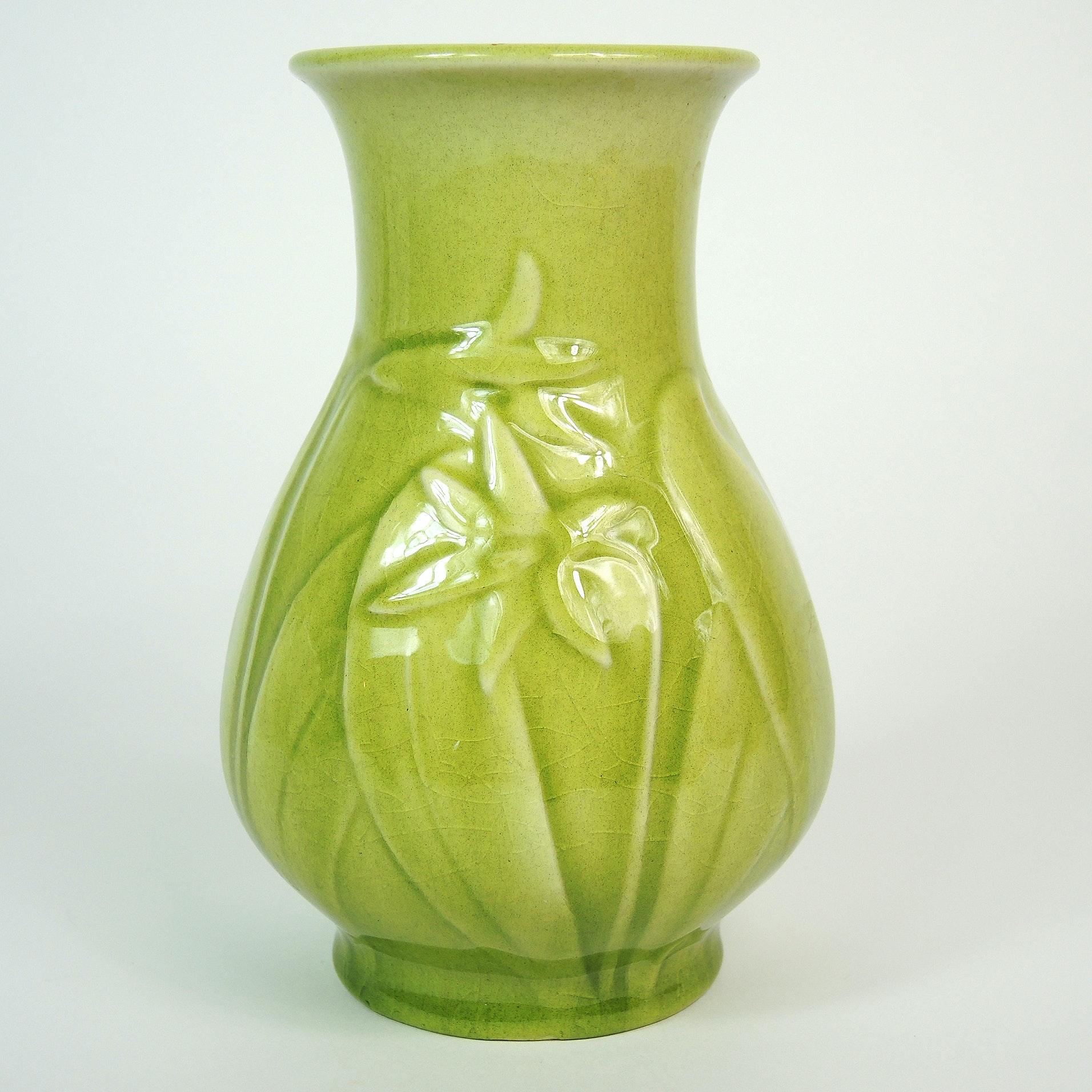 Green Rookwood Pottery Floral Vase, 1948