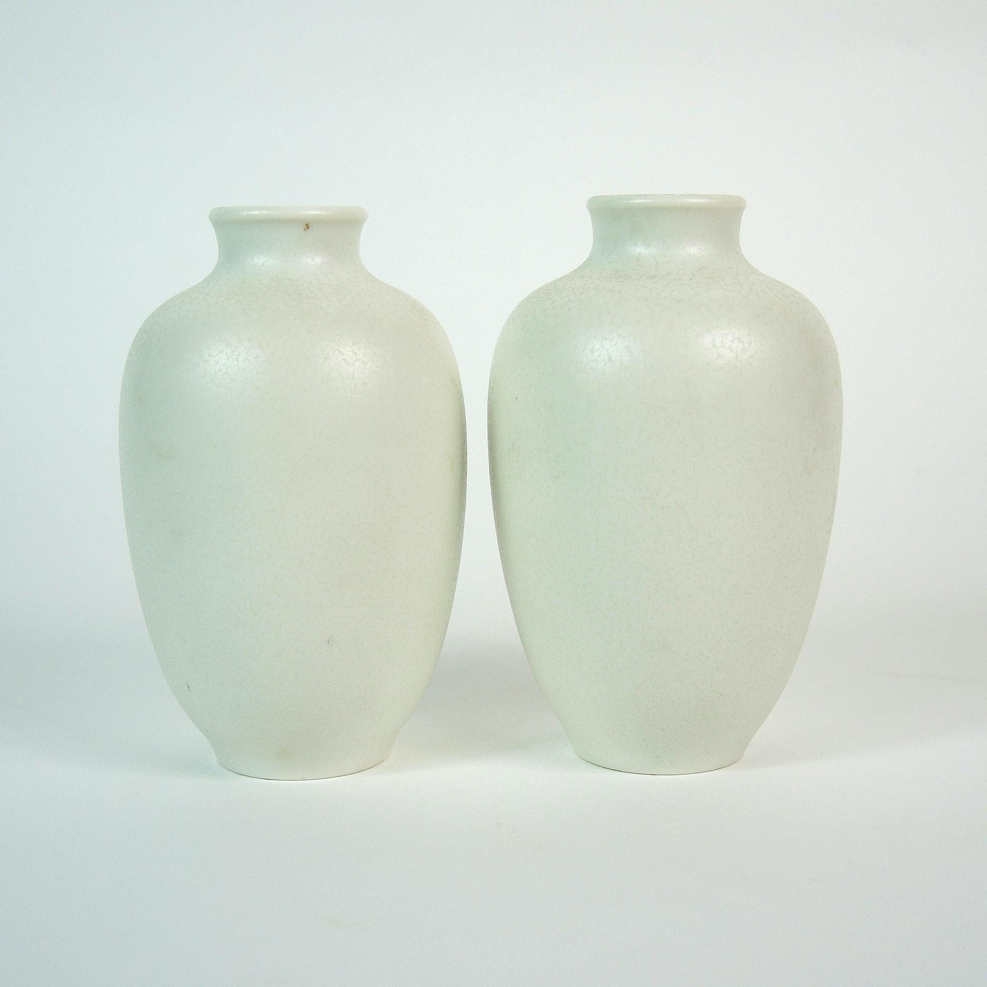 Rookwood Pottery Small White Ovoid Vase Set, 1936