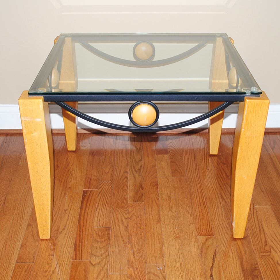 Modern Style Glass Top Side Table