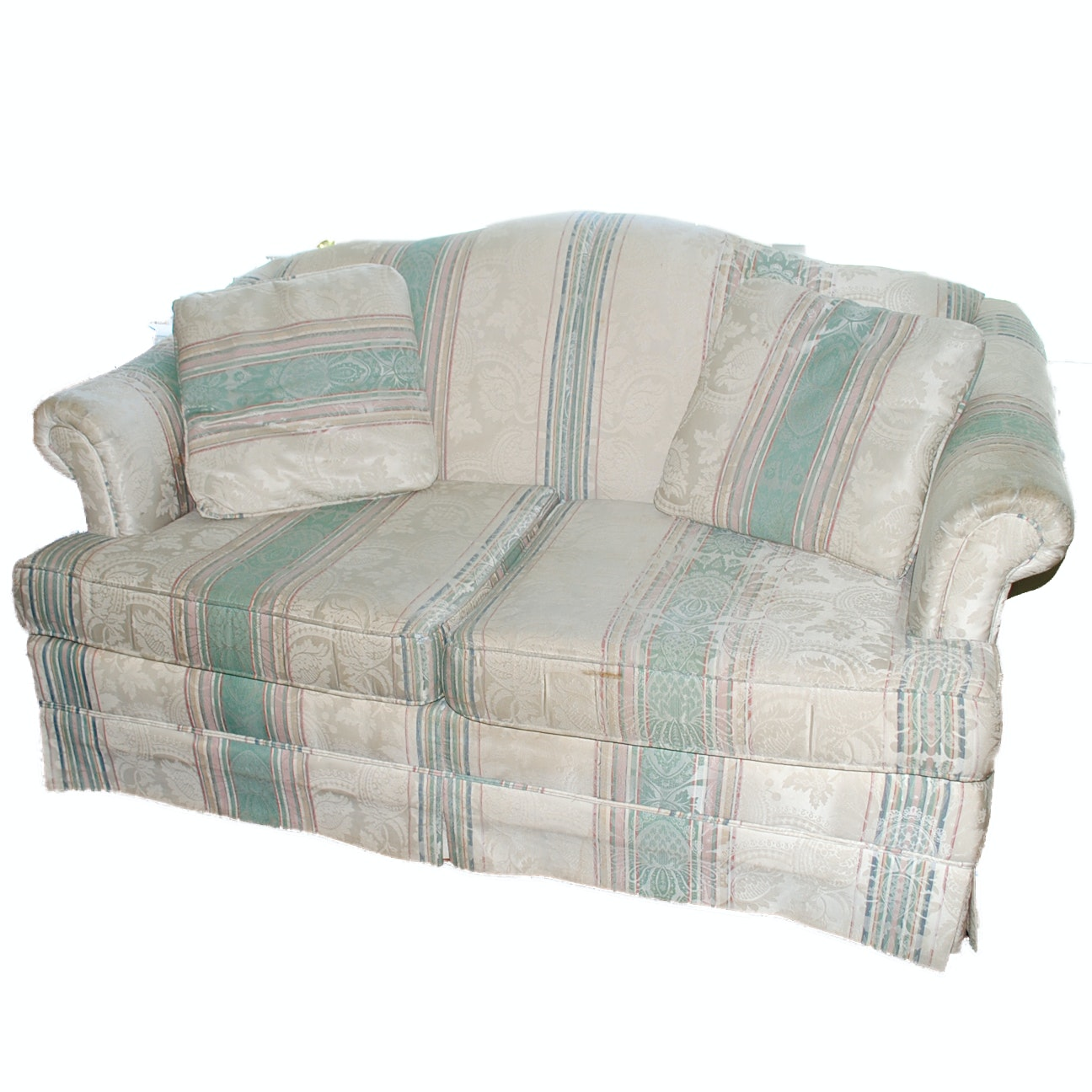 Camelback Loveseat with Foliate and Striped Upholstery