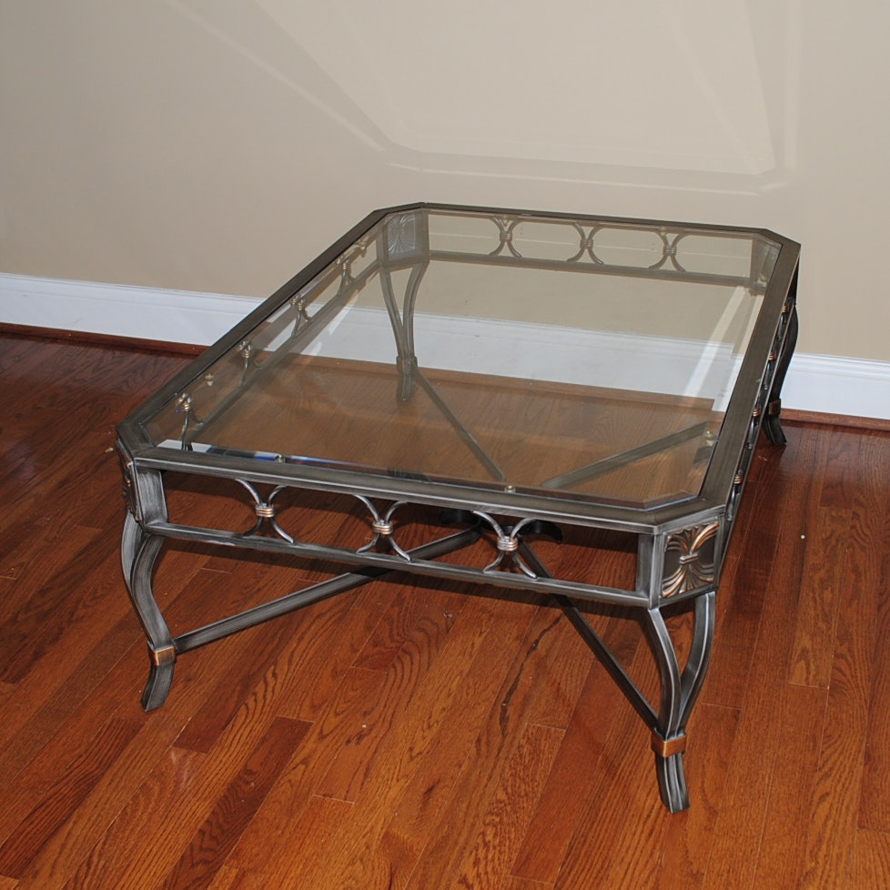 Neoclassical Style Metal Coffee Table