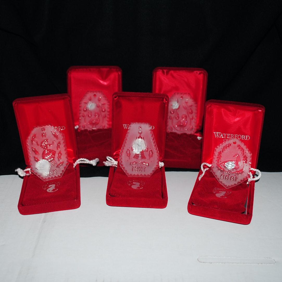 """Vintage Waterford Crystal """"Twelve Days of Christmas"""" Ornaments"""