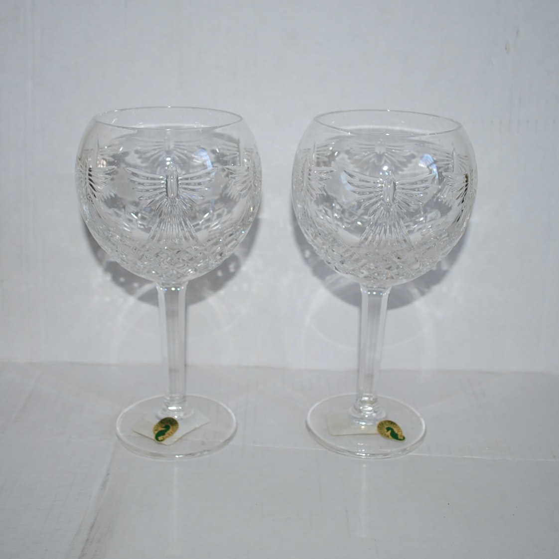 """Waterford Crystal """"Millennium Series: Peace"""" Hock Toasting Goblets"""