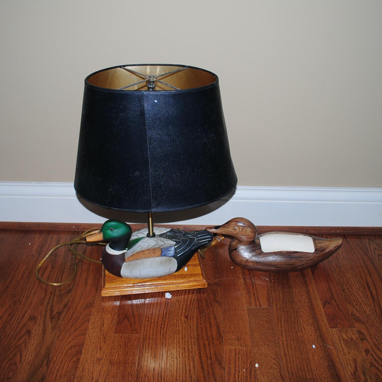 Mallard Table Lamp and Blue Grass Pottery Duck Dish