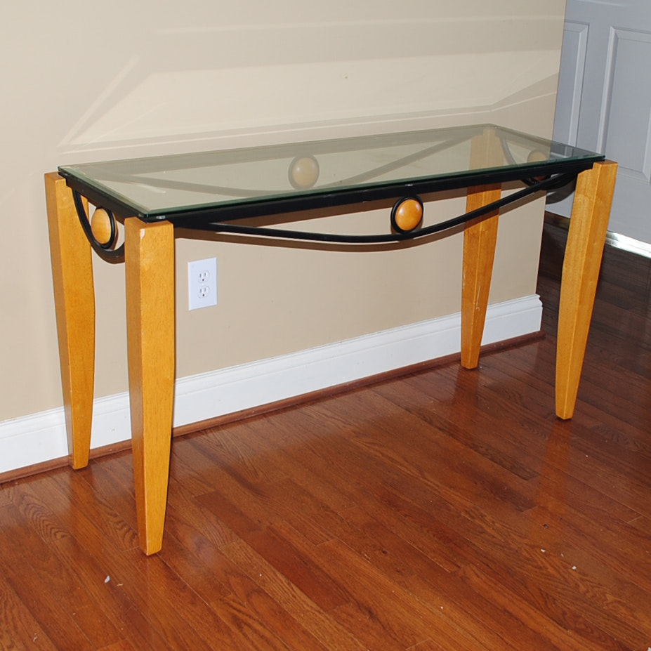 Modern Style Glass Top Console Table