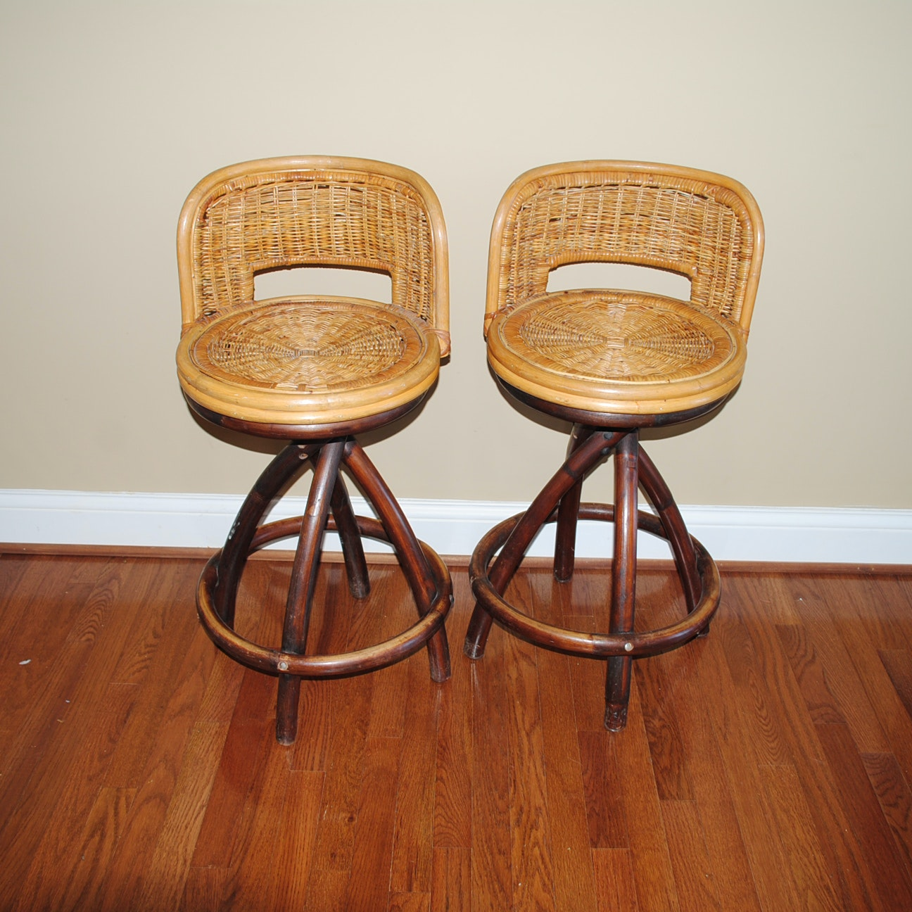 Pair of Wicker and Rattan Counter Stools