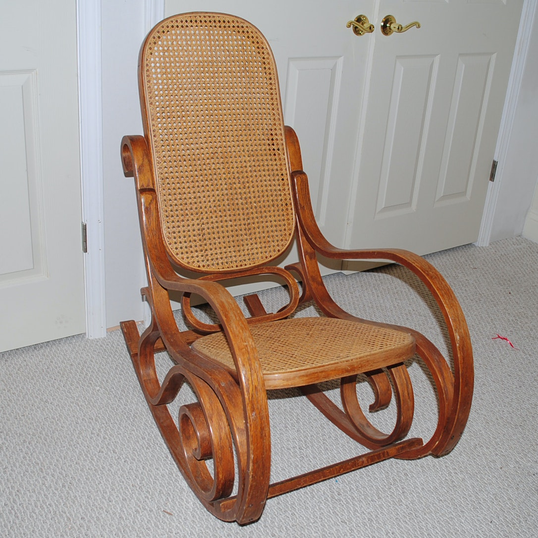 Vintage Bentwood And Cane Rocking Chair ...