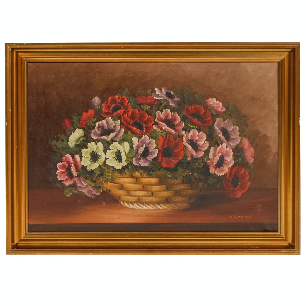 H. Thymsen Oil Painting of Floral Still Life