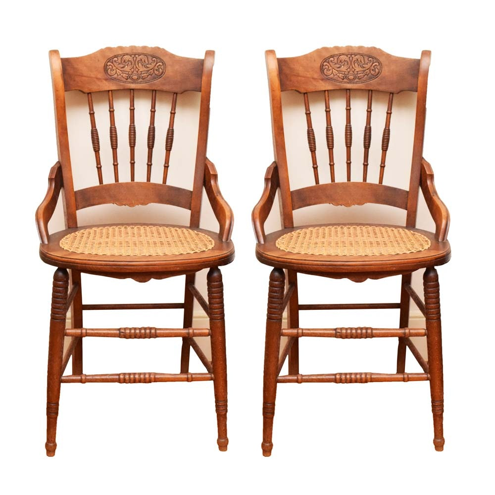 Vintage Oak Chairs With Caned Seats