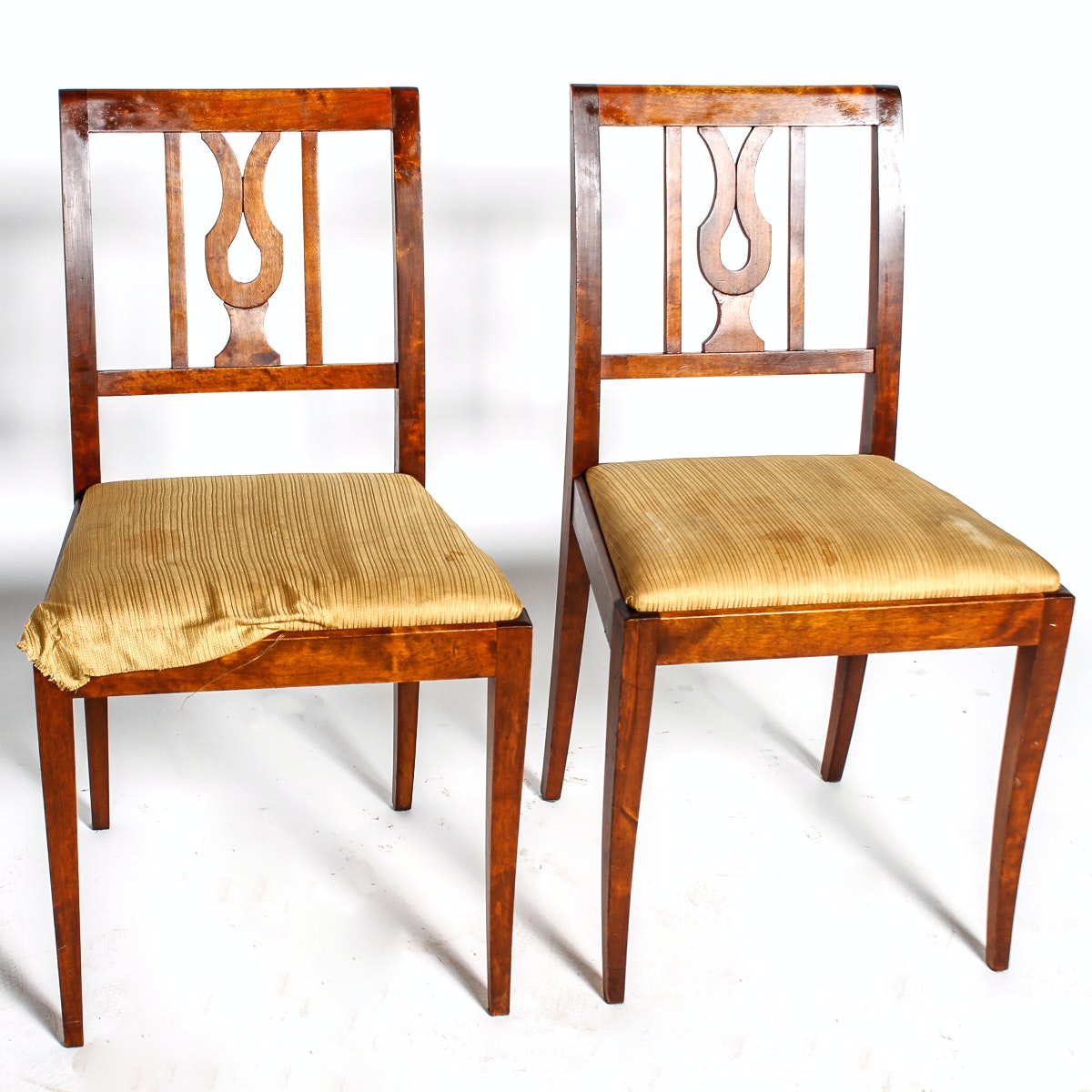 Vintage Sheraton Style Burled Wood Side Chairs ...