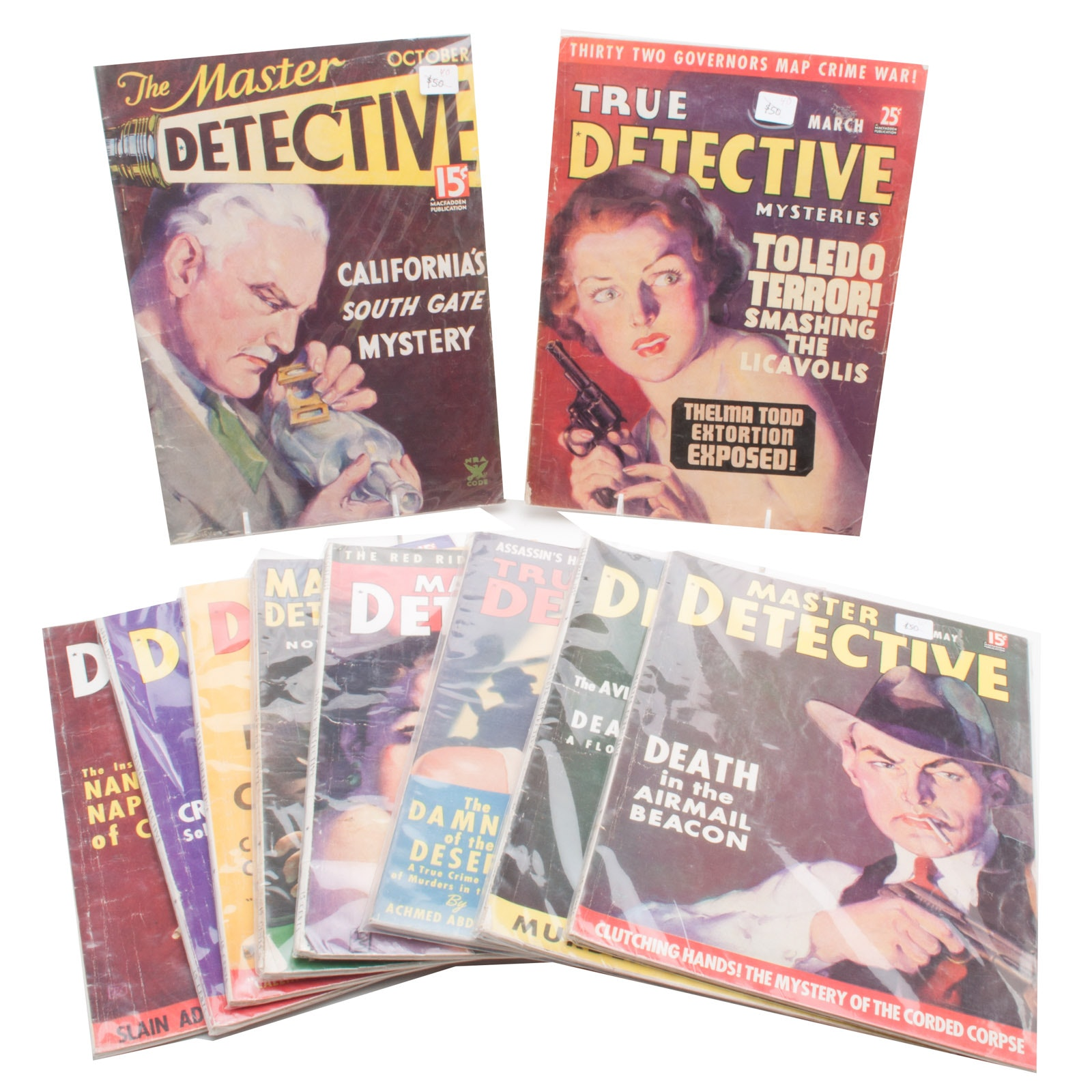 """Collection of Vintage """"Master Detective"""" PULP Magazines"""