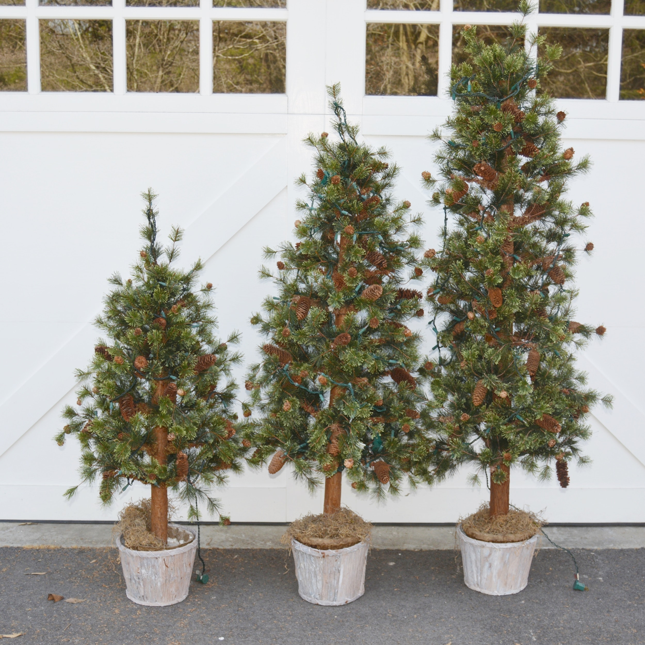Three Illuminated Faux Christmas Trees