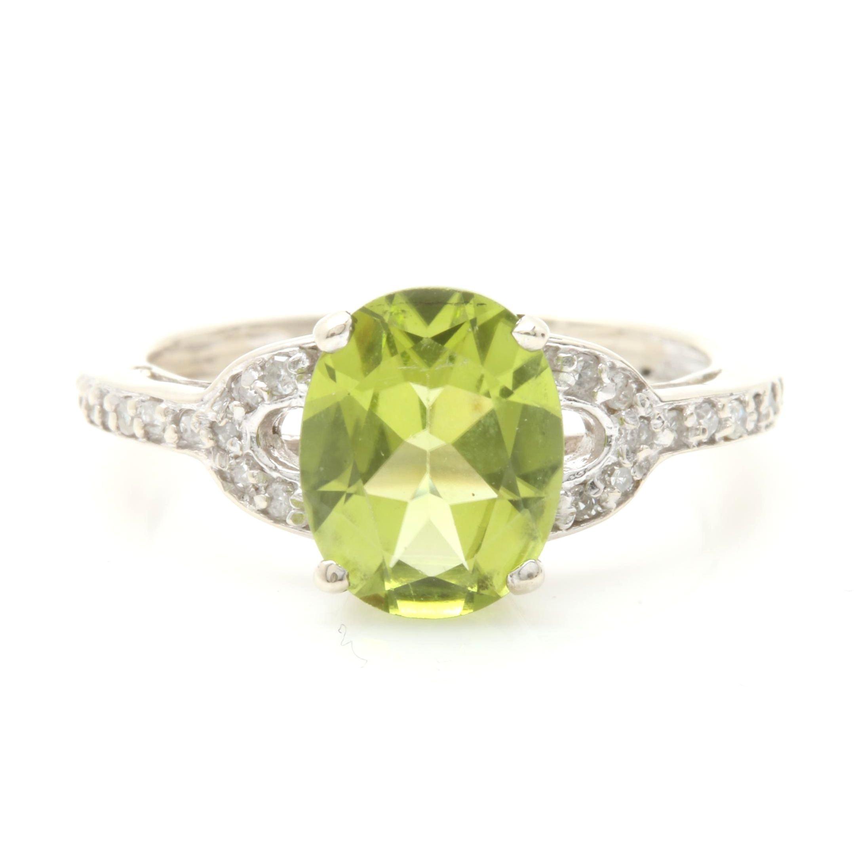 10K White Gold Peridot and Diamond Ring