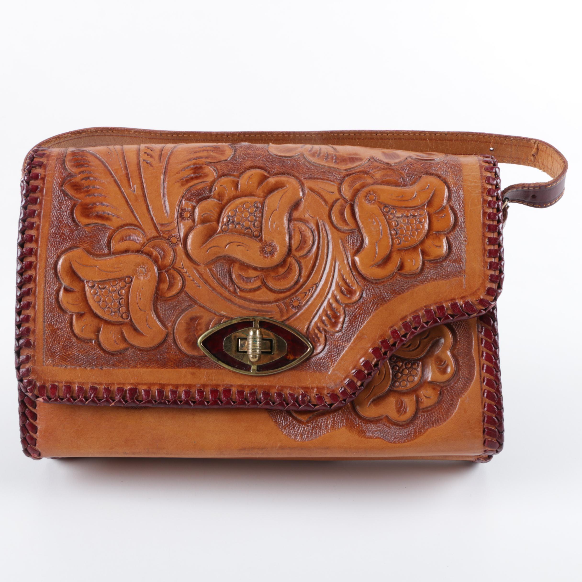 Vintage Gaitan Brown Tooled Leather Handbag