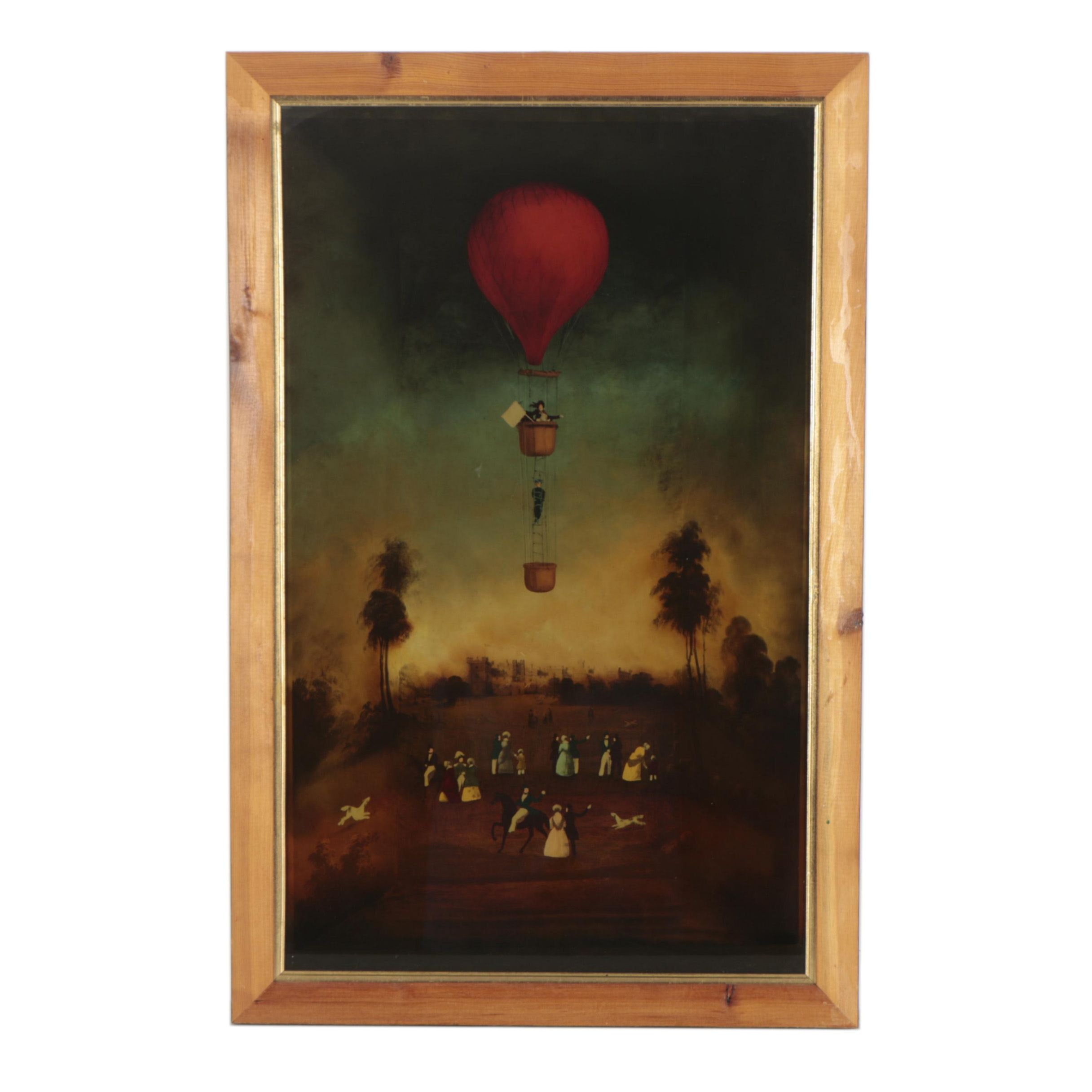 Reverse Painted Glass Balloon Scene