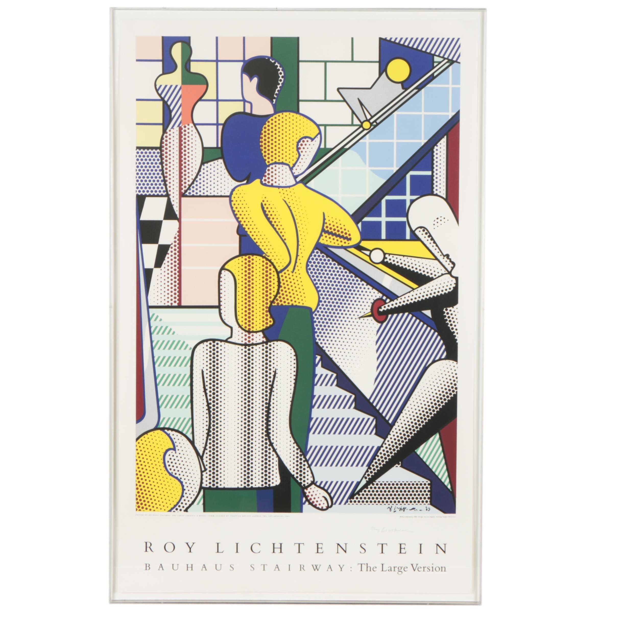 """Signed Roy Lichtenstein Serigraph """"Bauhaus Stairway: The Large Version"""""""