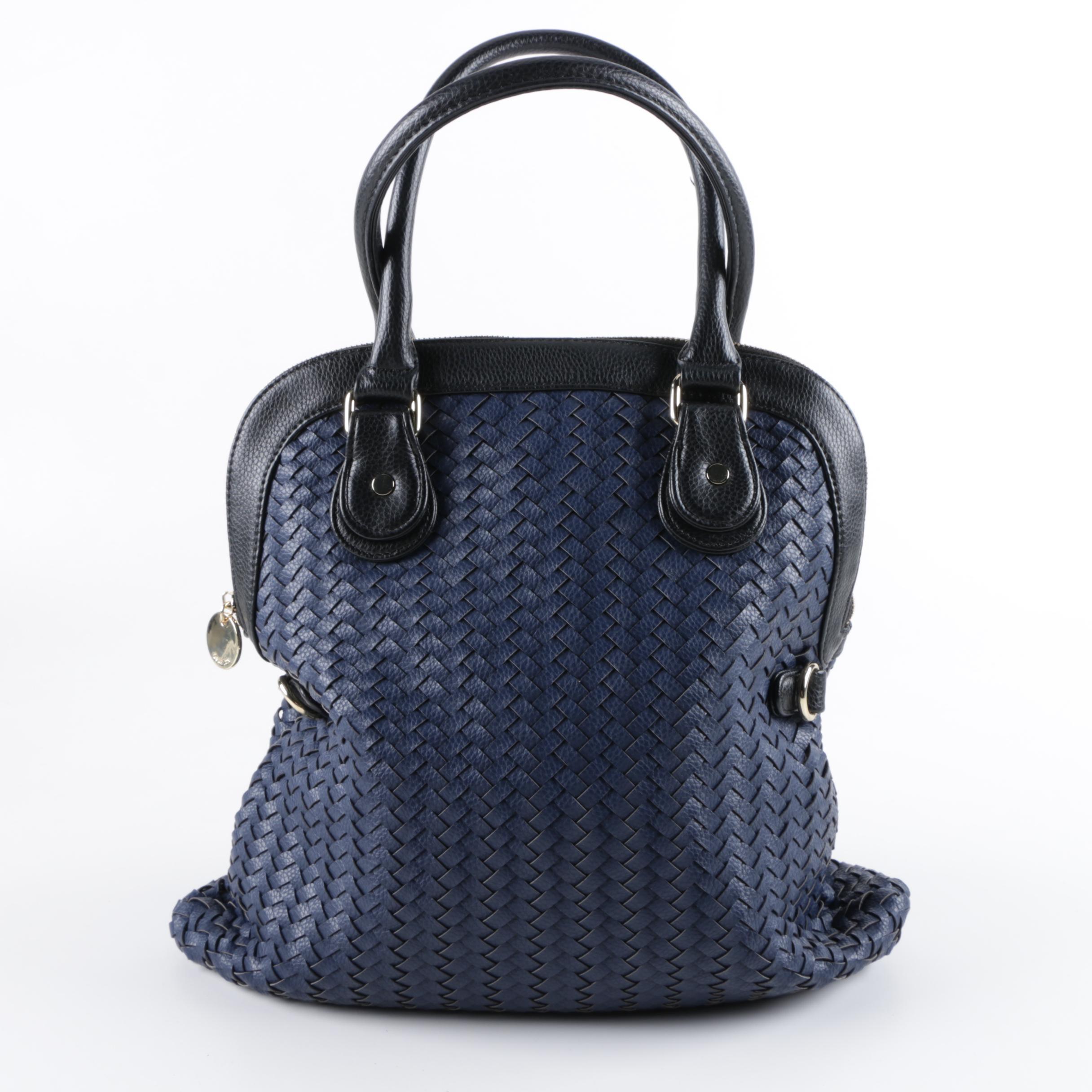 Deux Lux Blue Woven Leather Handbag Ebth