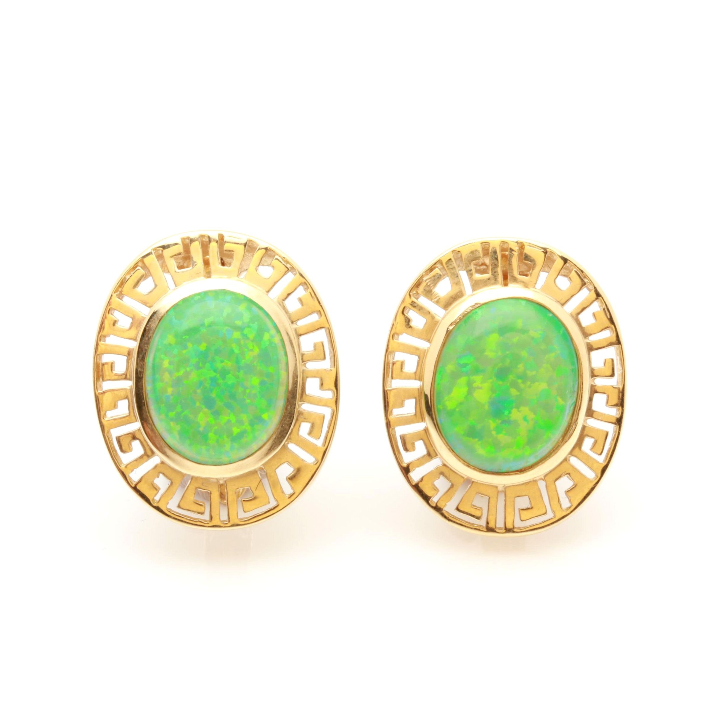 14K Yellow Gold Synthetic Opal Earrings