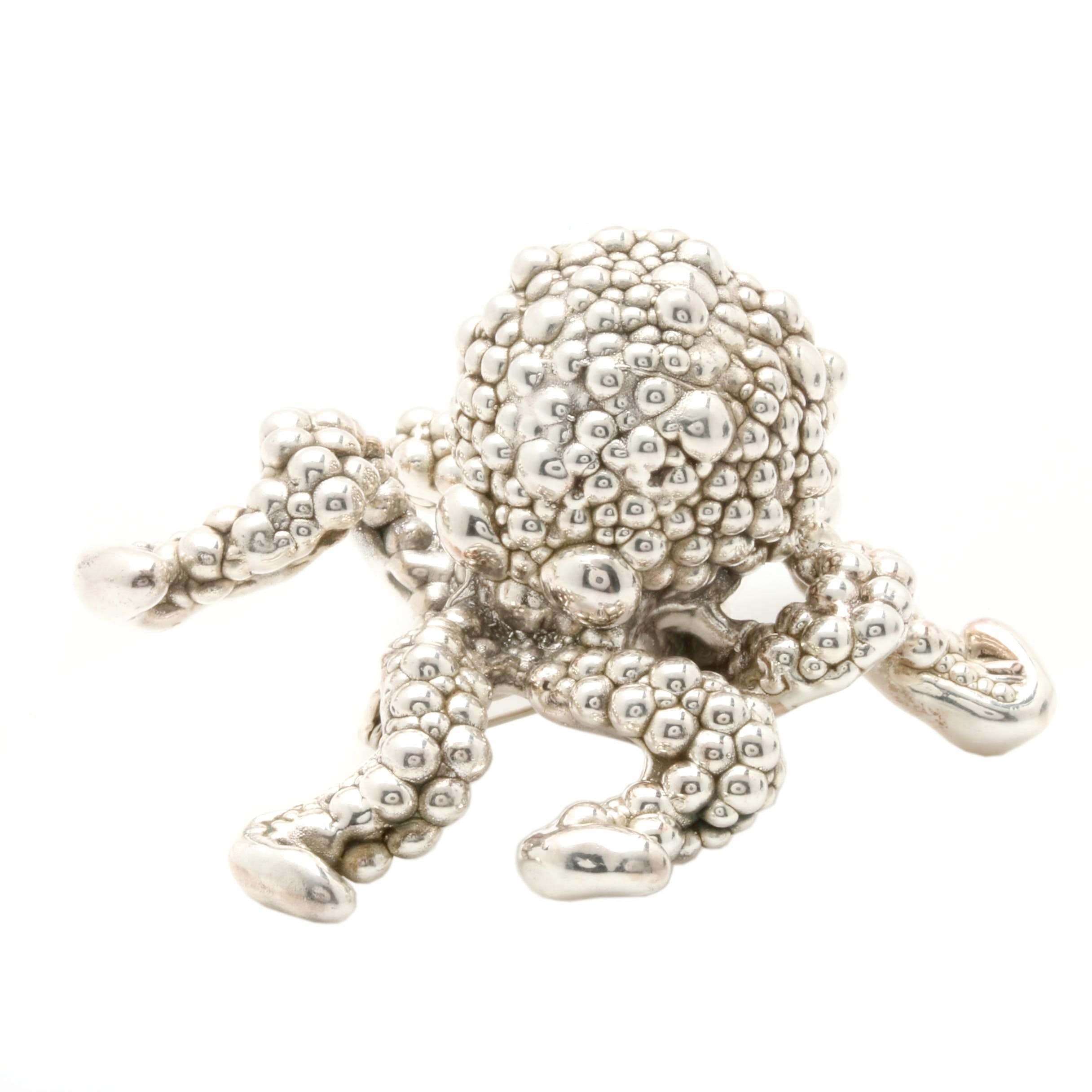Silver Tone Octopus Brooch