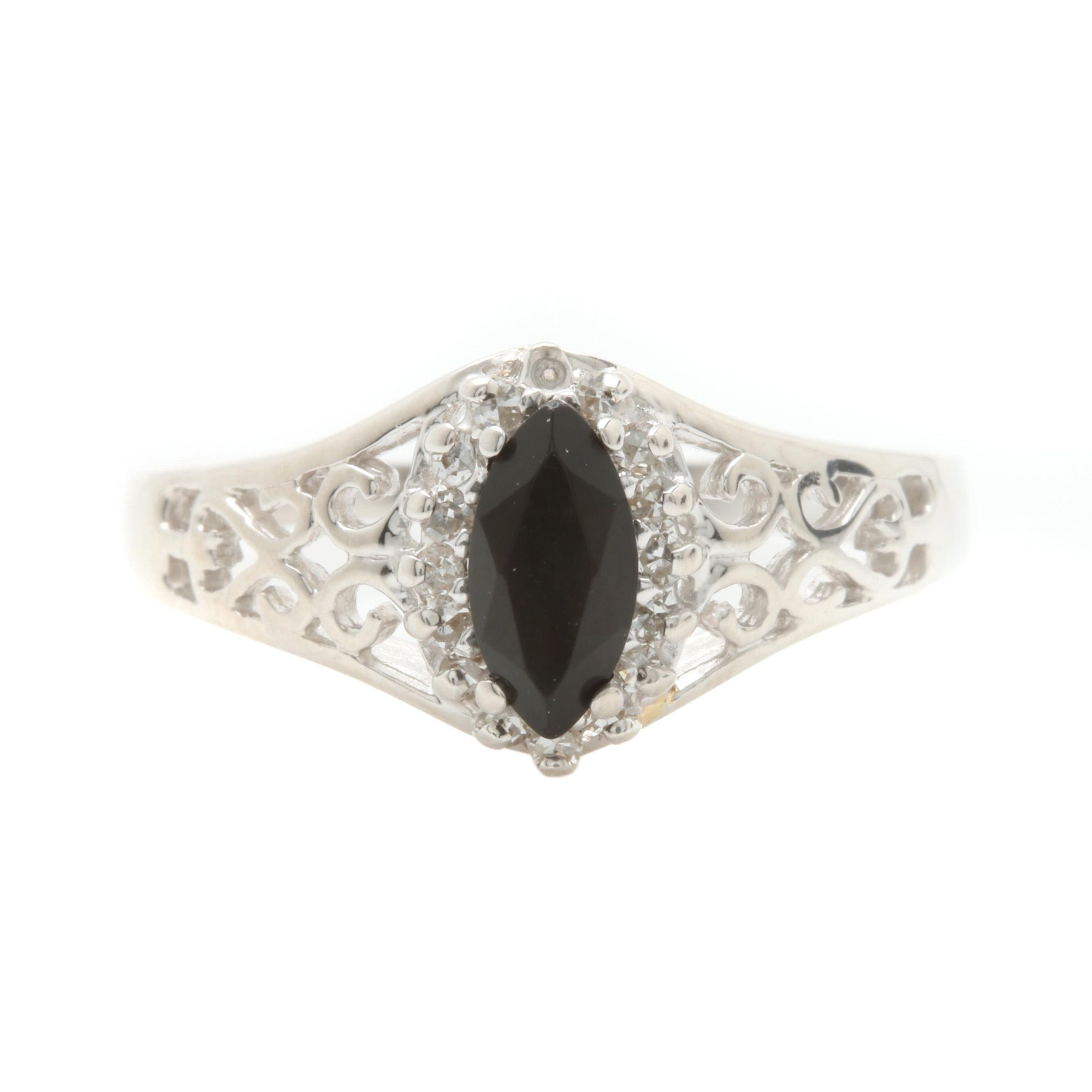 14K White Gold Black Onyx and Diamond Ring