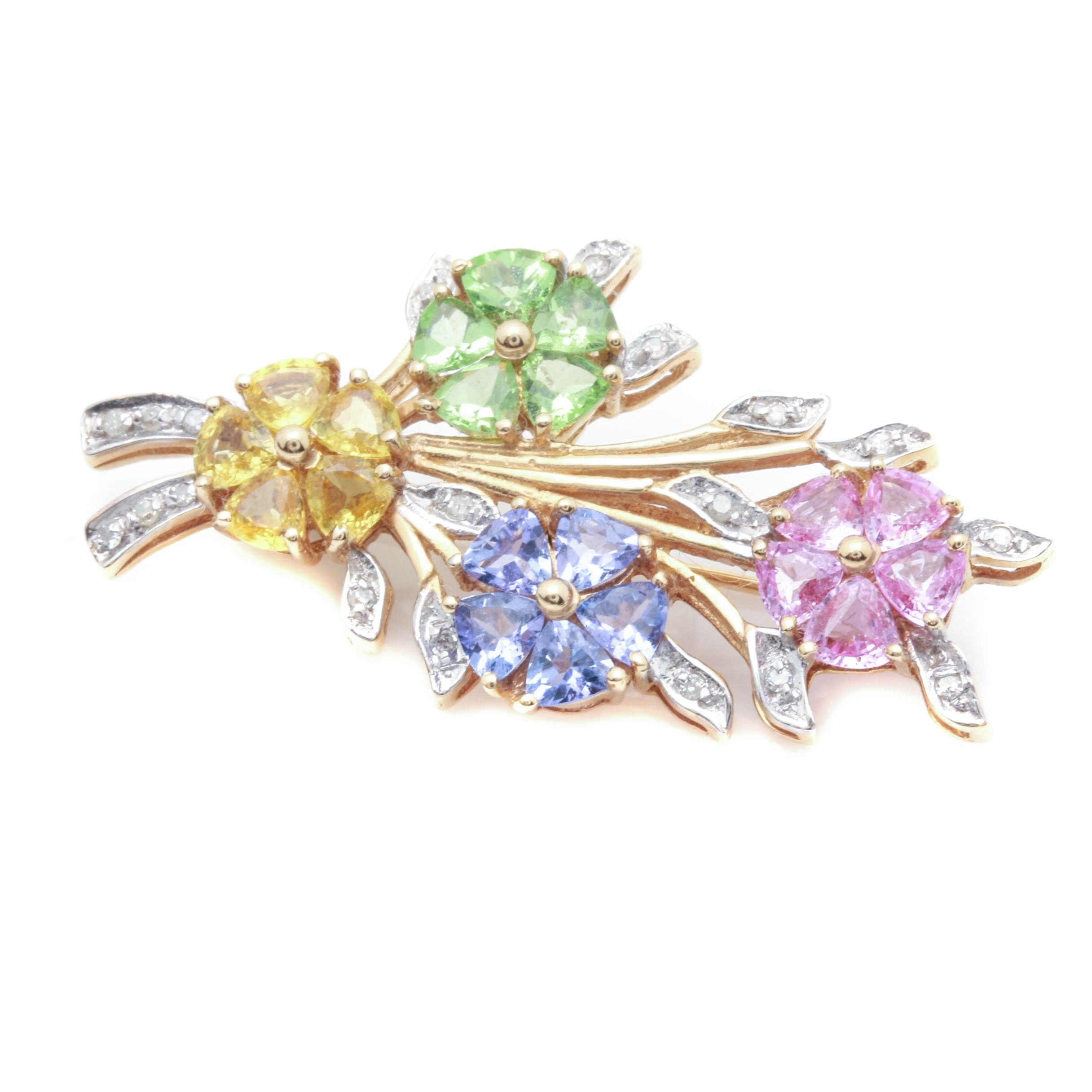 14K Yellow Gold Diamond and Multicolored Gemstone Floral Bouquet Brooch
