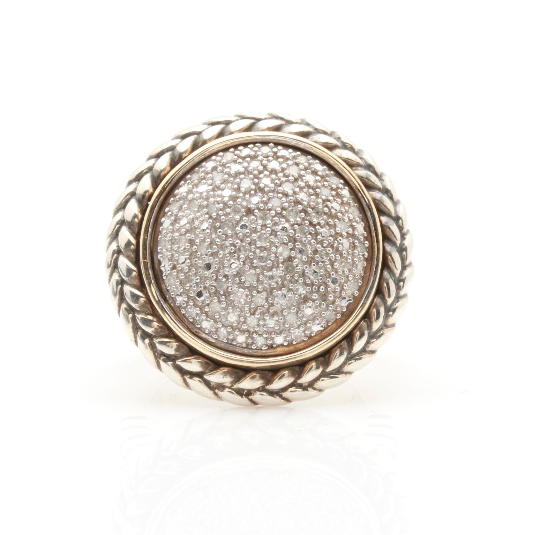 Sterling Silver and 14K White Gold Diamond Ring