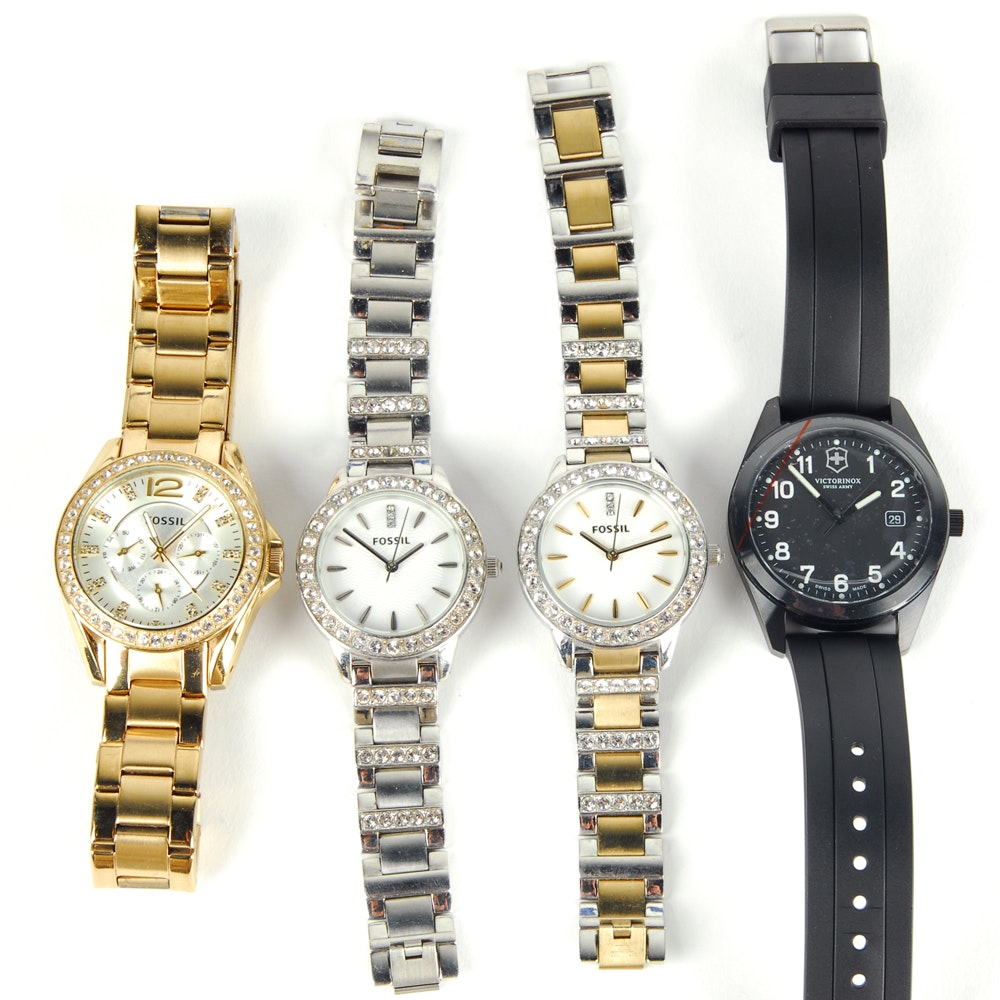 Collection of Fossil and Victorinox Wristwatches