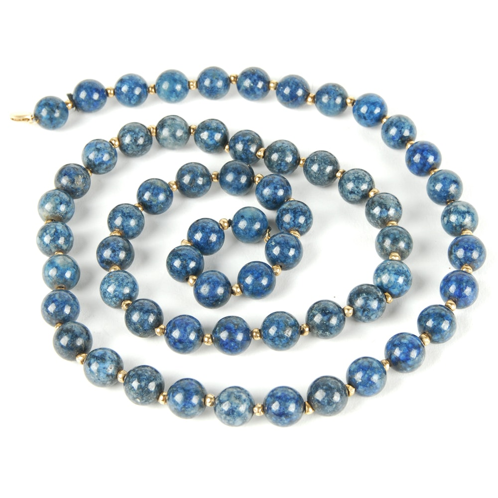 14K Yellow Gold Lapis Lazuli Bead Necklace
