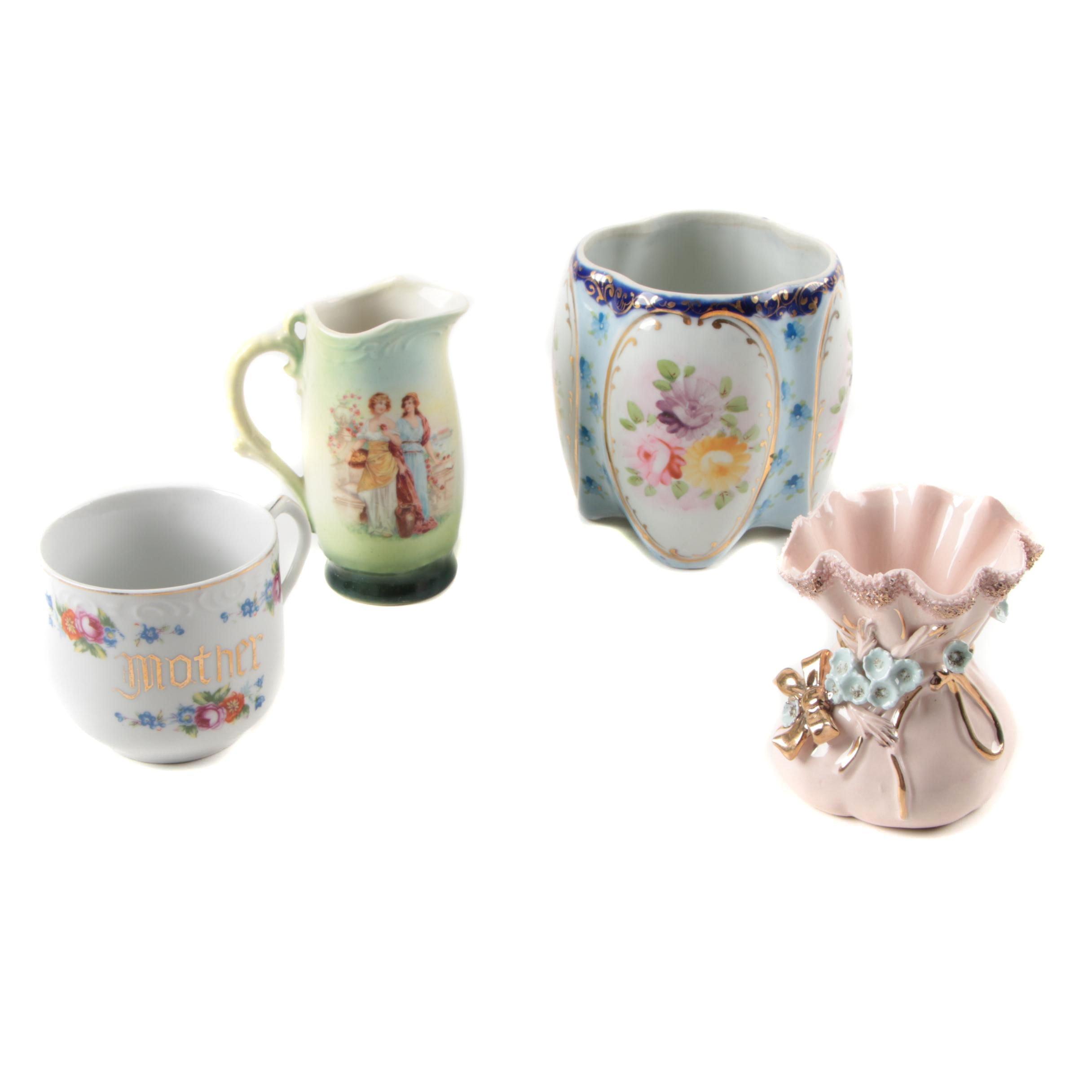 Vintage Porcelain Vases, Pitcher and Cup