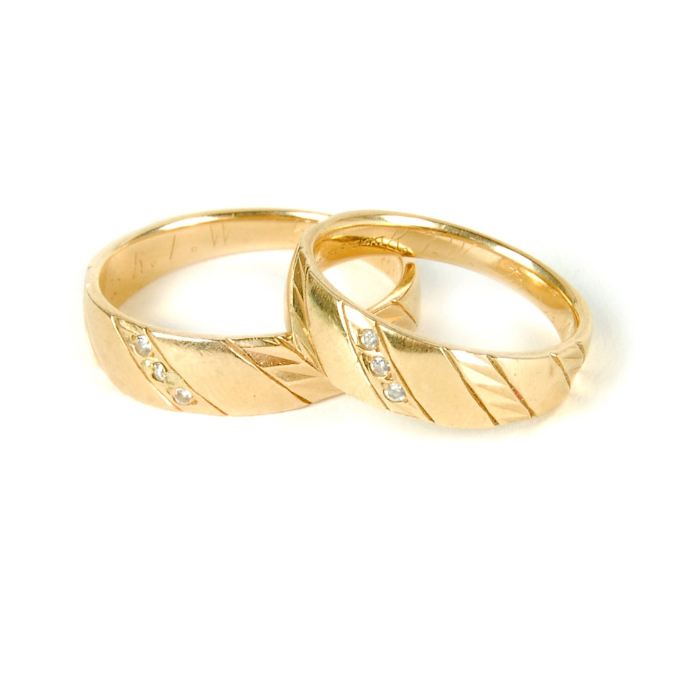 Pair of ArtCarved 14K Yellow Gold Diamond Bands