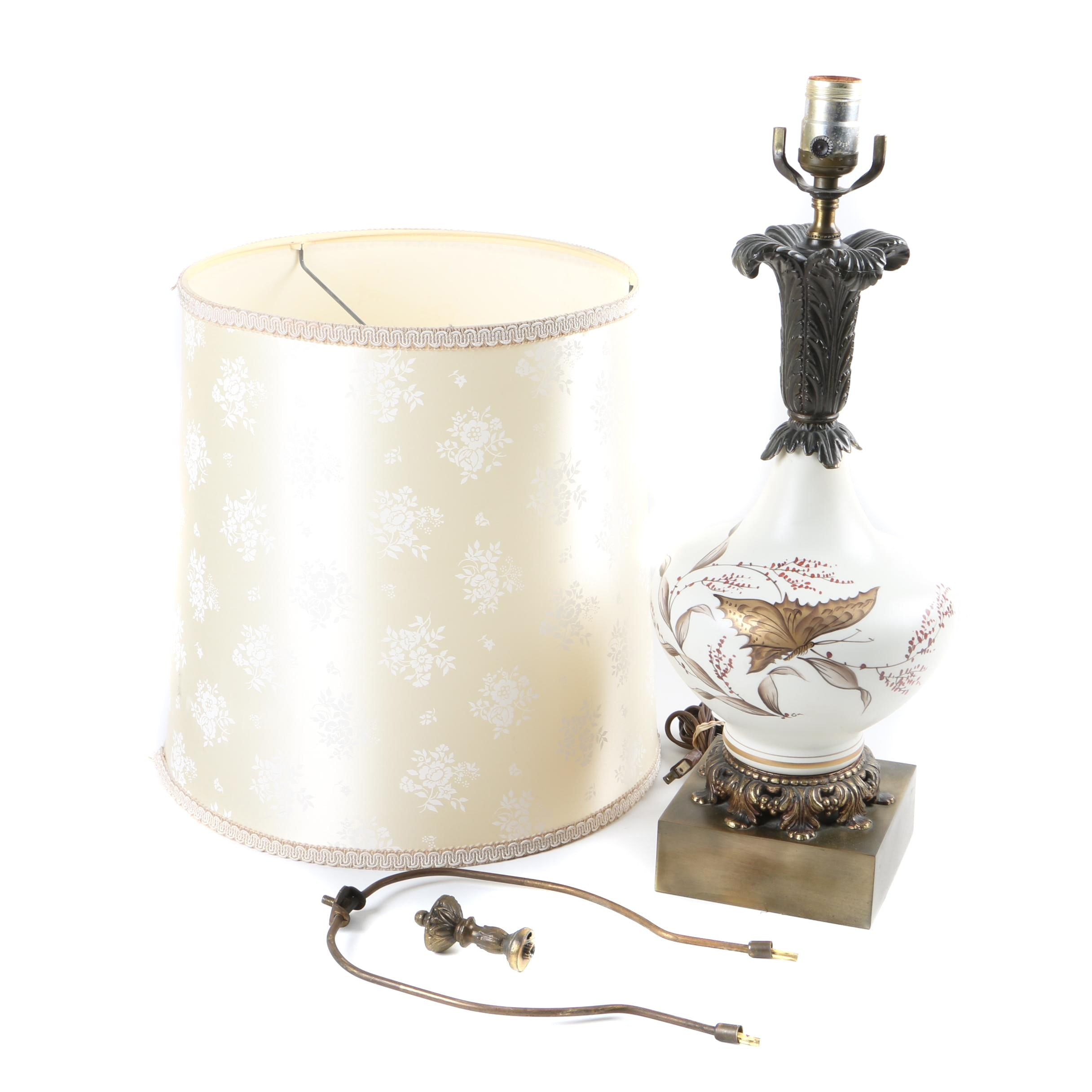 Ceramic and Bronze Tone Metal Butterfly Table Lamp