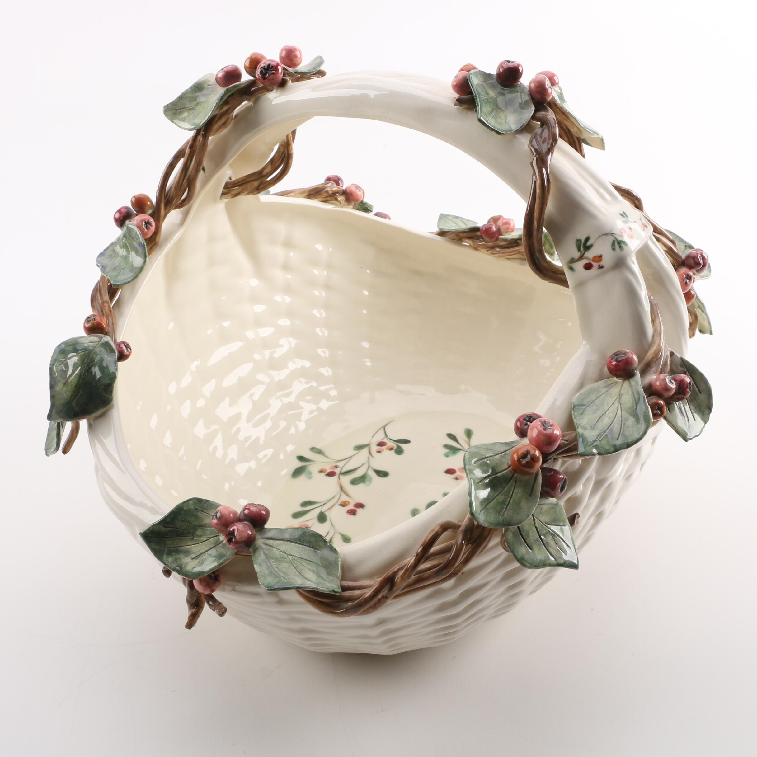 Linda Bailey Leaf and Berry Motif Hand Painted Ceramic Basket
