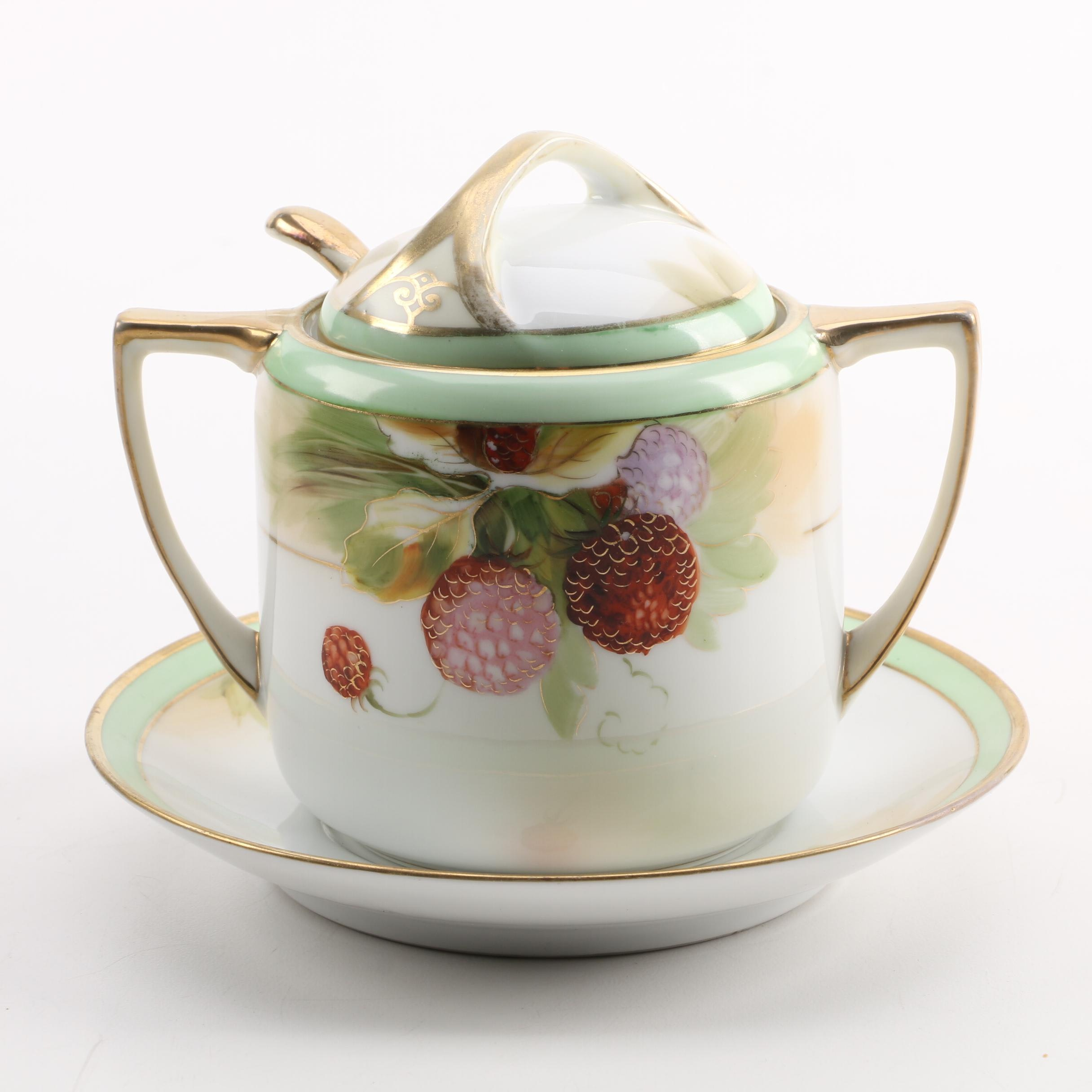Nippon Raspberry Sauce Tureen with Matching Ladle and Underplate
