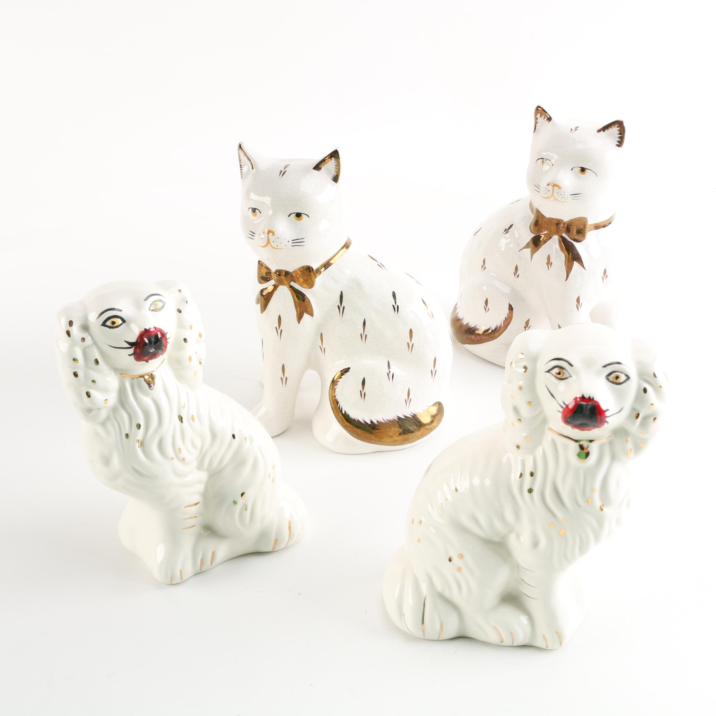 Staffordshire Style Porcelain Dog and Cat Figurines