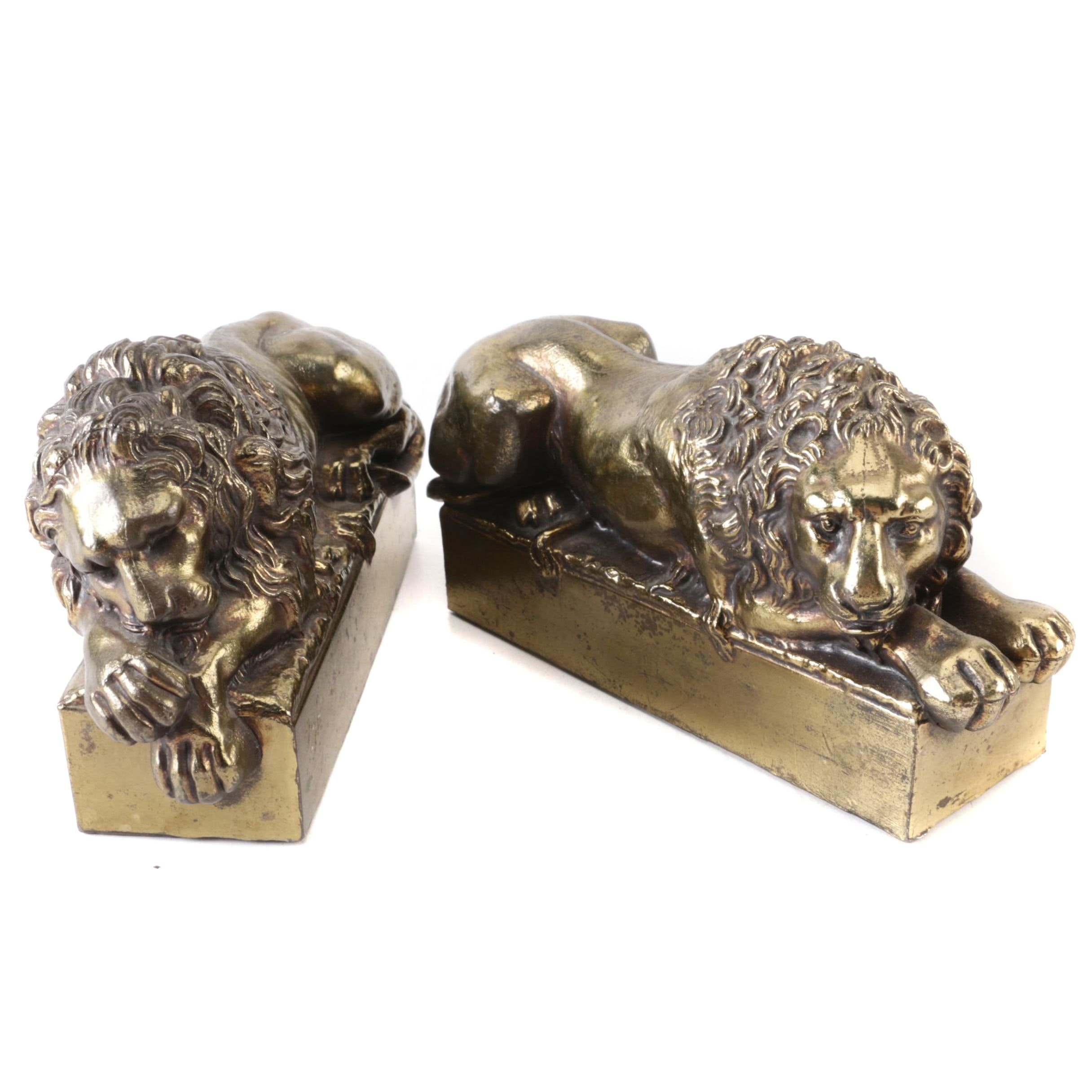 Brass Lion Bookends After Antonio Canova