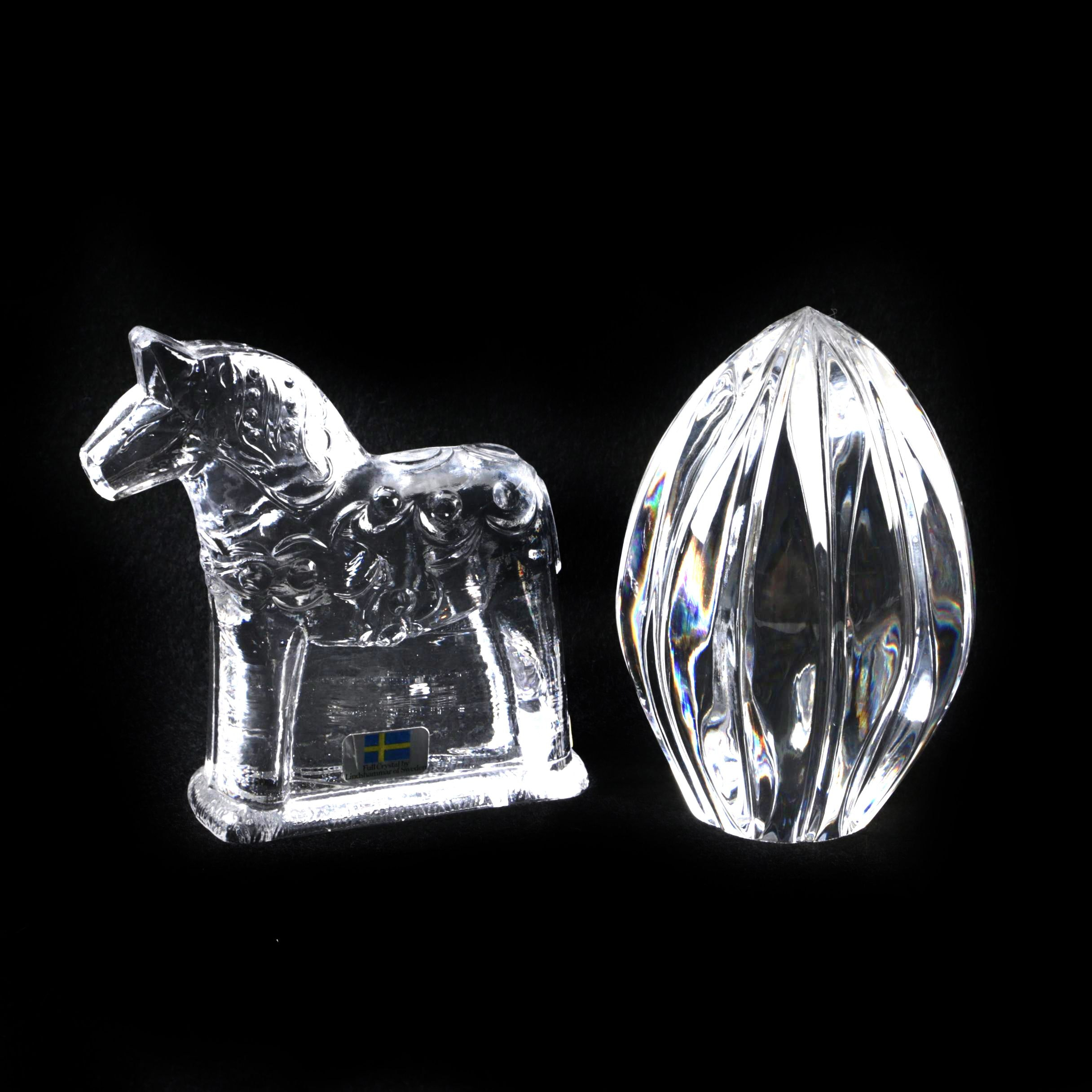 """Lindshammar of Sweden Crystal """"Dala"""" Horse and Paperweight"""