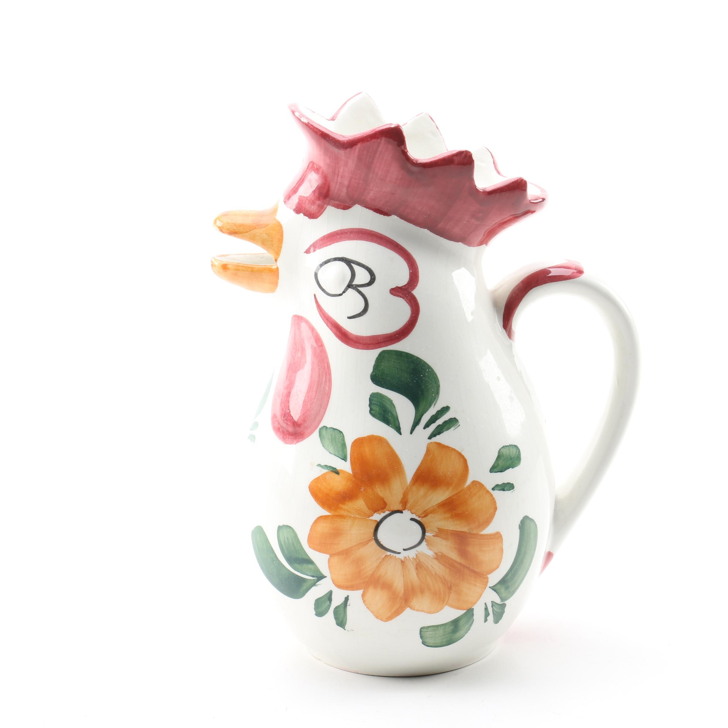 Tarvisium Italian Hand-painted Ceramic Rooster Pitcher