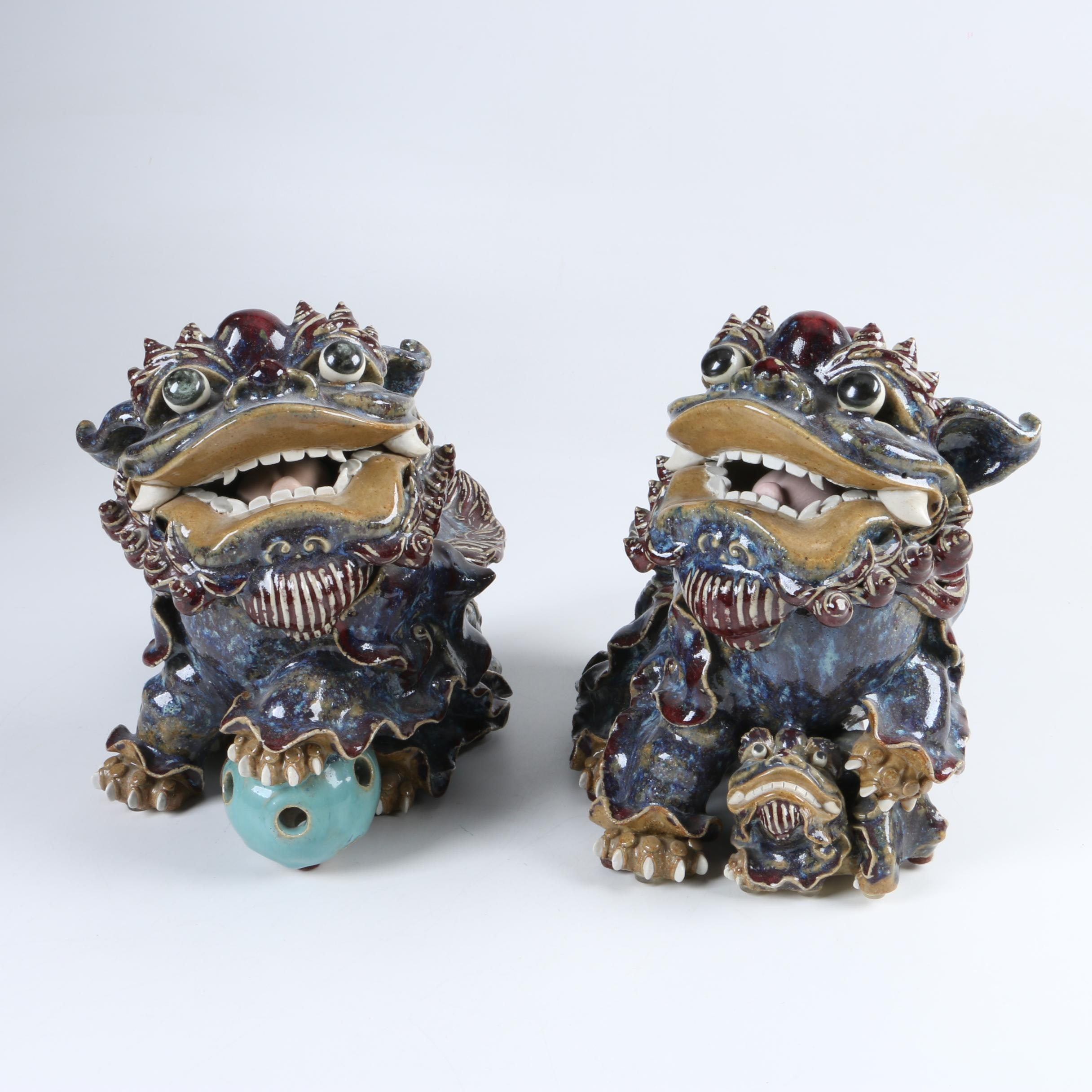 Chinese Ceramic Guardian Lion Sculptures