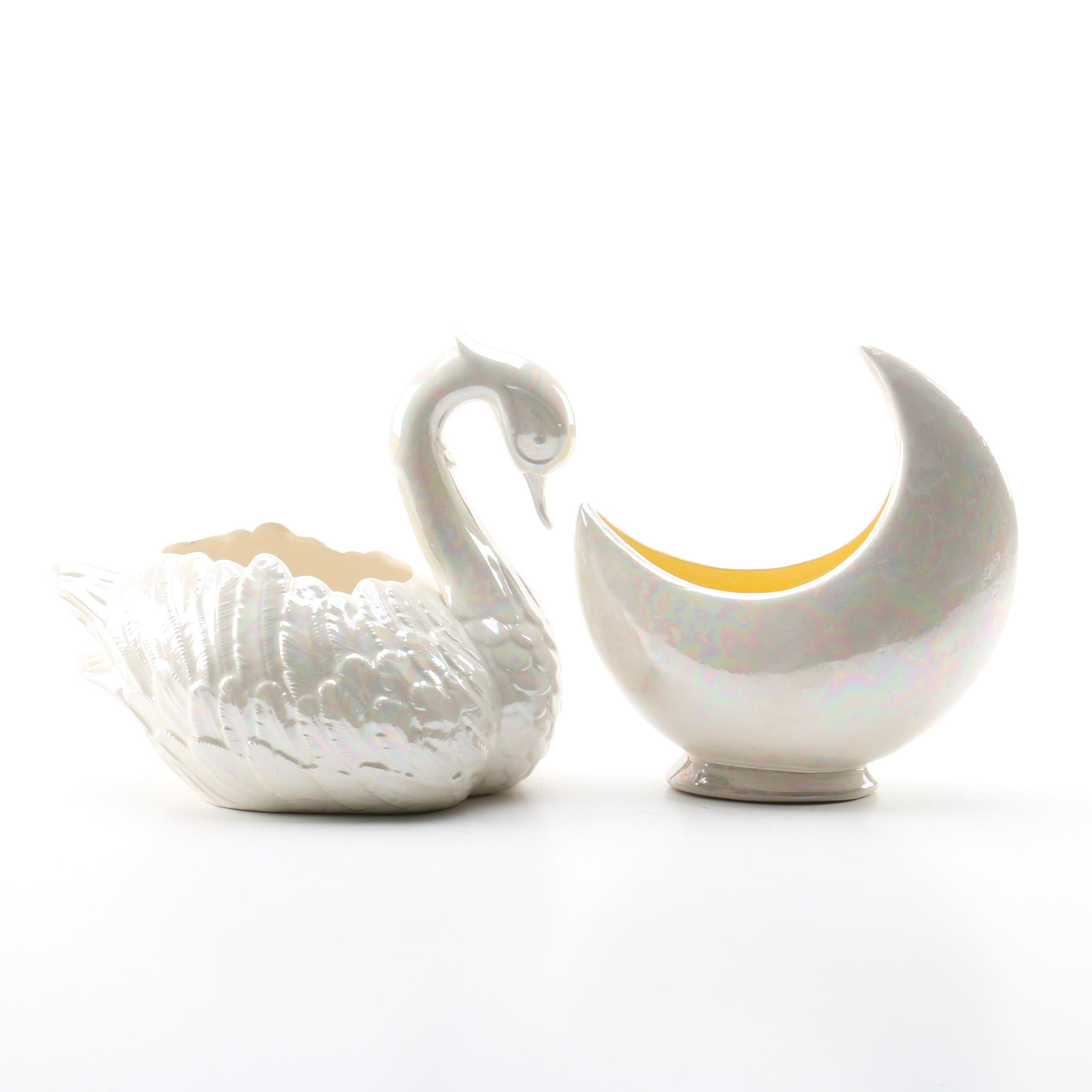 Opalescent Finished Figurative Ceramic Planters