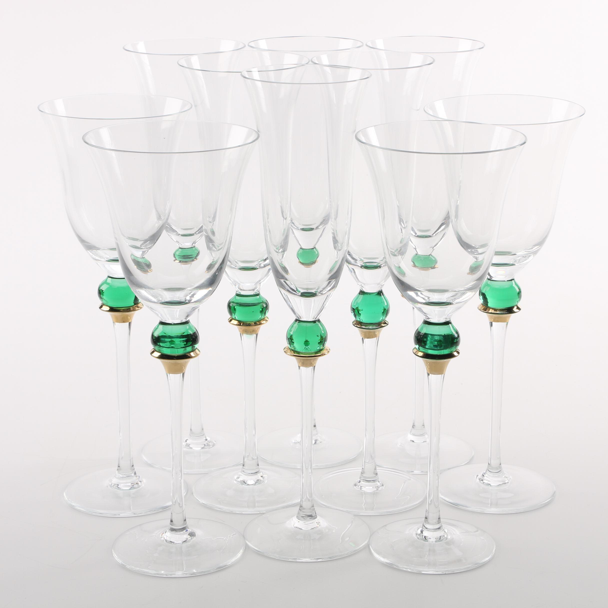 Glass Green Ball Stemware