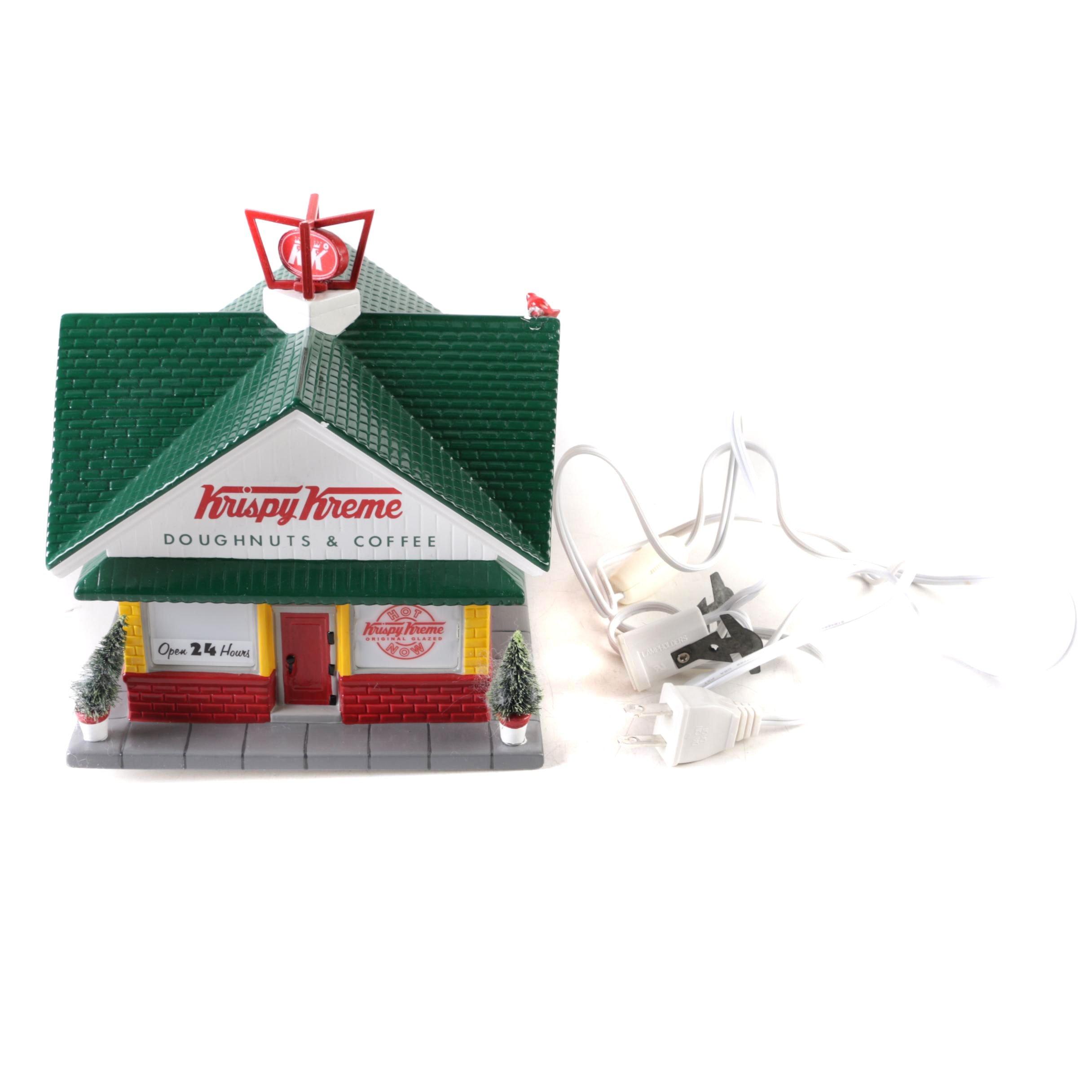 Department 56 Krispy Kreme Miniature Light Up Snow Village Building
