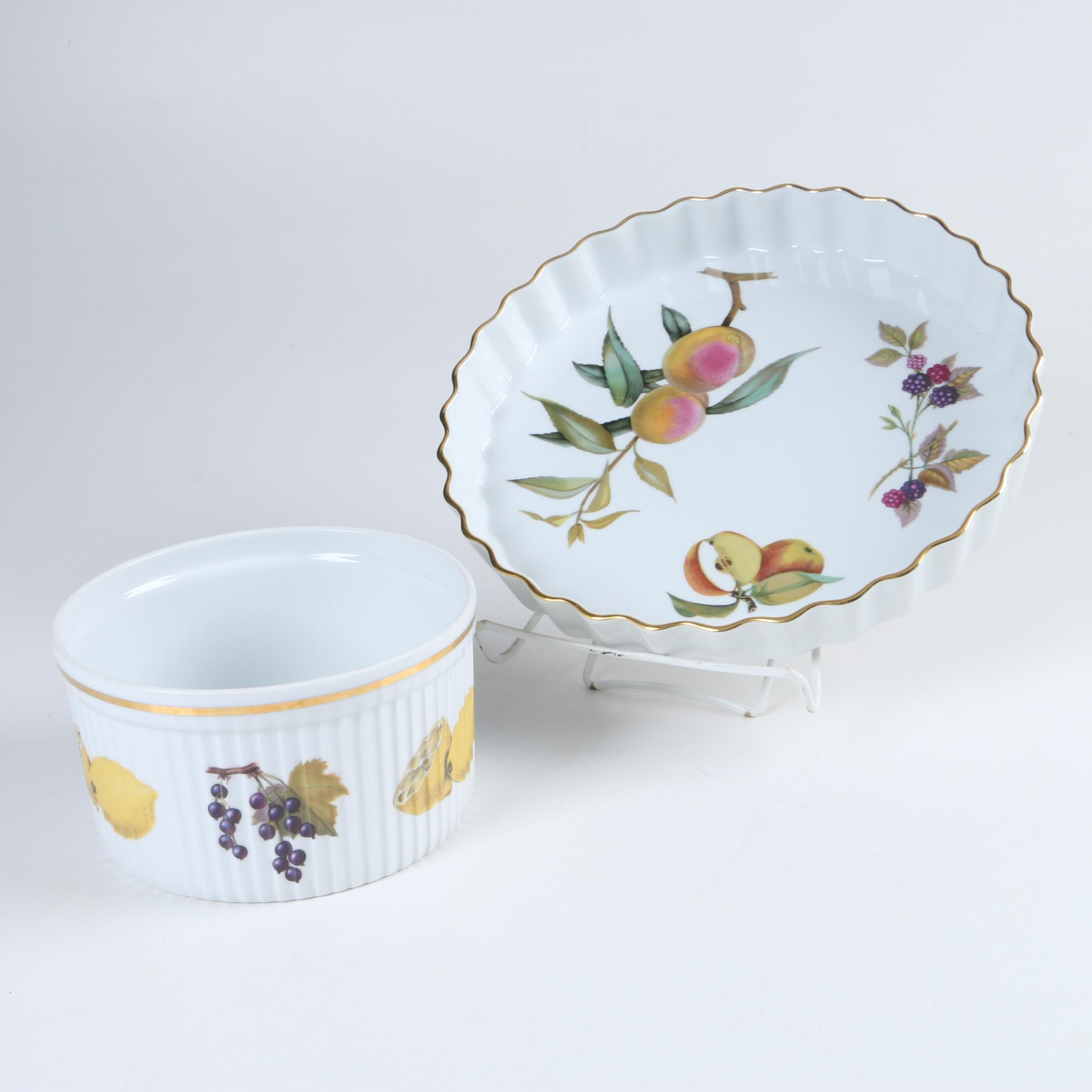 "Royal Worcester ""Evesham"" Porcelain Ramekin and Pie Dish"