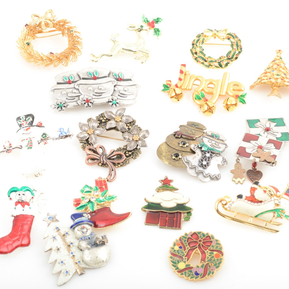 Vintage Winter Holiday Brooches