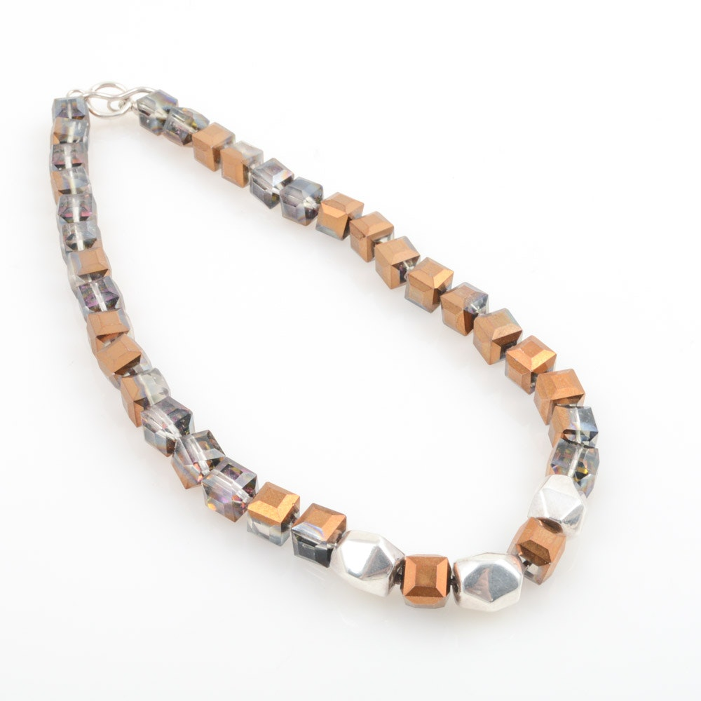 Simon Sebbag Designs Sterling Silver and Crystal Necklace