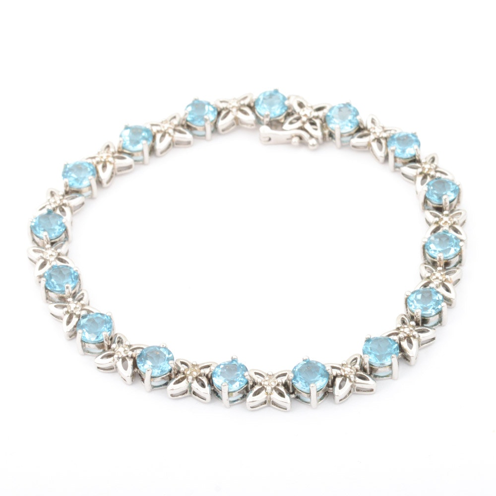 Sterling Silver Bracelet with Blue Topaz and Diamonds