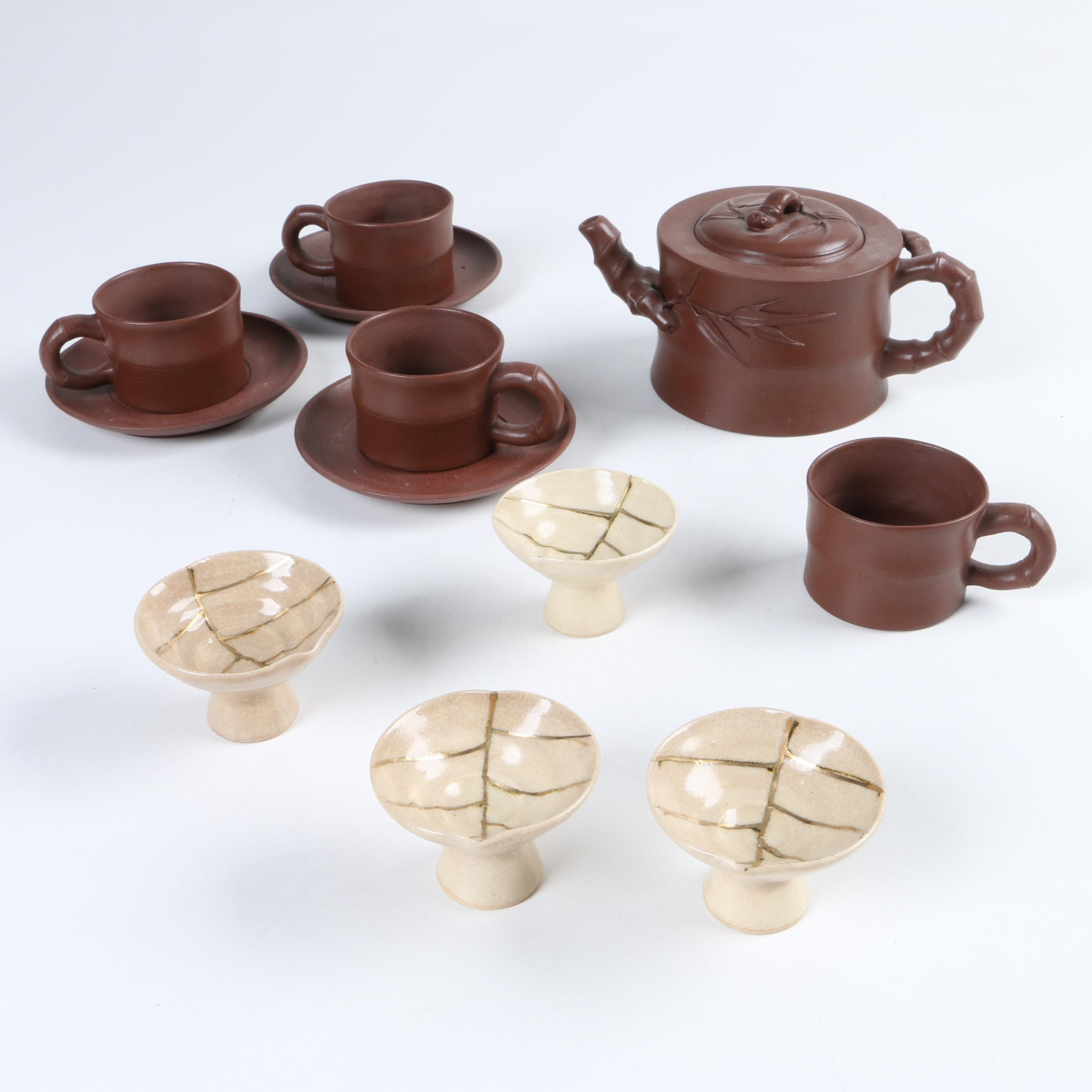 Chinese Yixing Clay Teapot and Cups